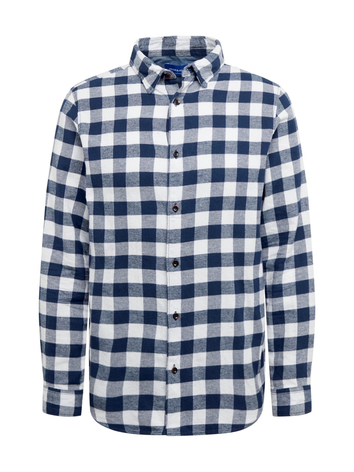 JACK & JONES Marškiniai balta / tamsiai mėlyna