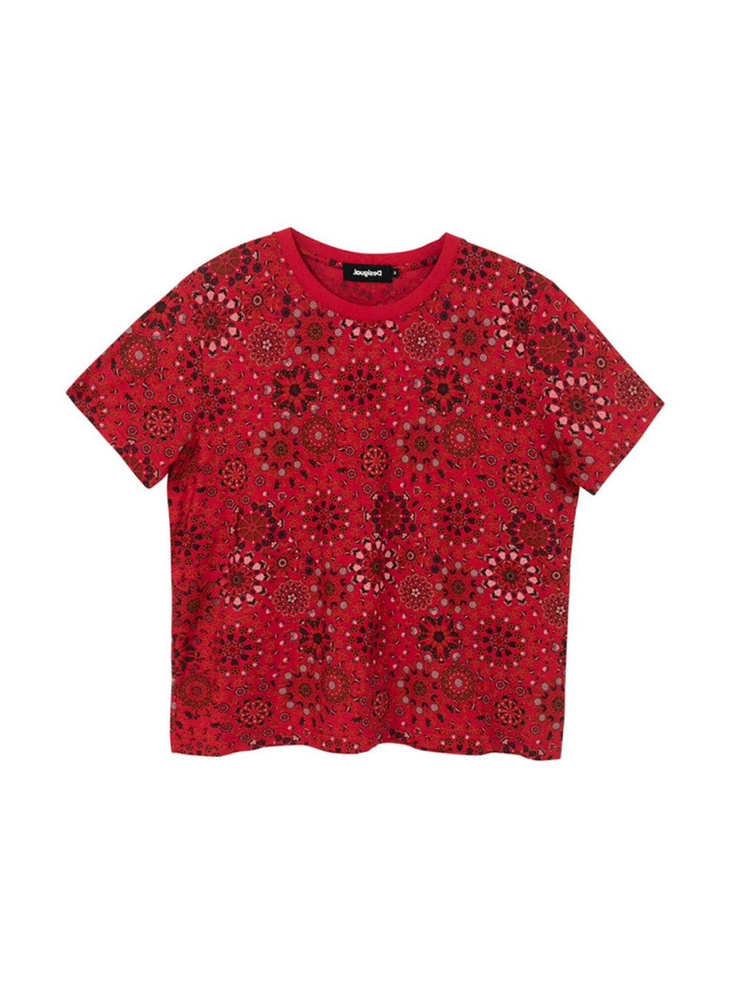 Desigual Tričko 'LYON'  červená / černá / šedá / růžová