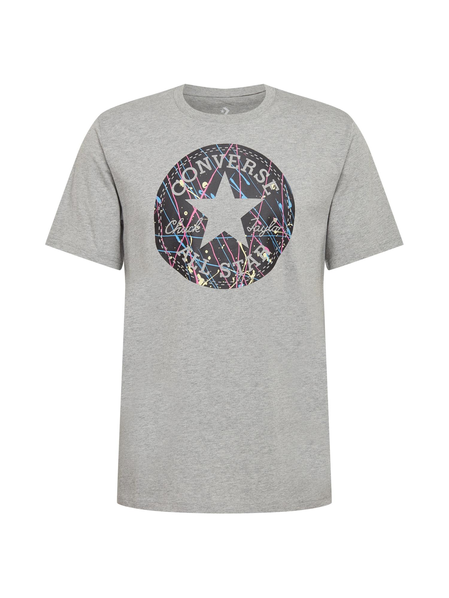 CONVERSE Marškinėliai margai pilka / juoda / šviesiai rožinė / šviesiai mėlyna / kremo