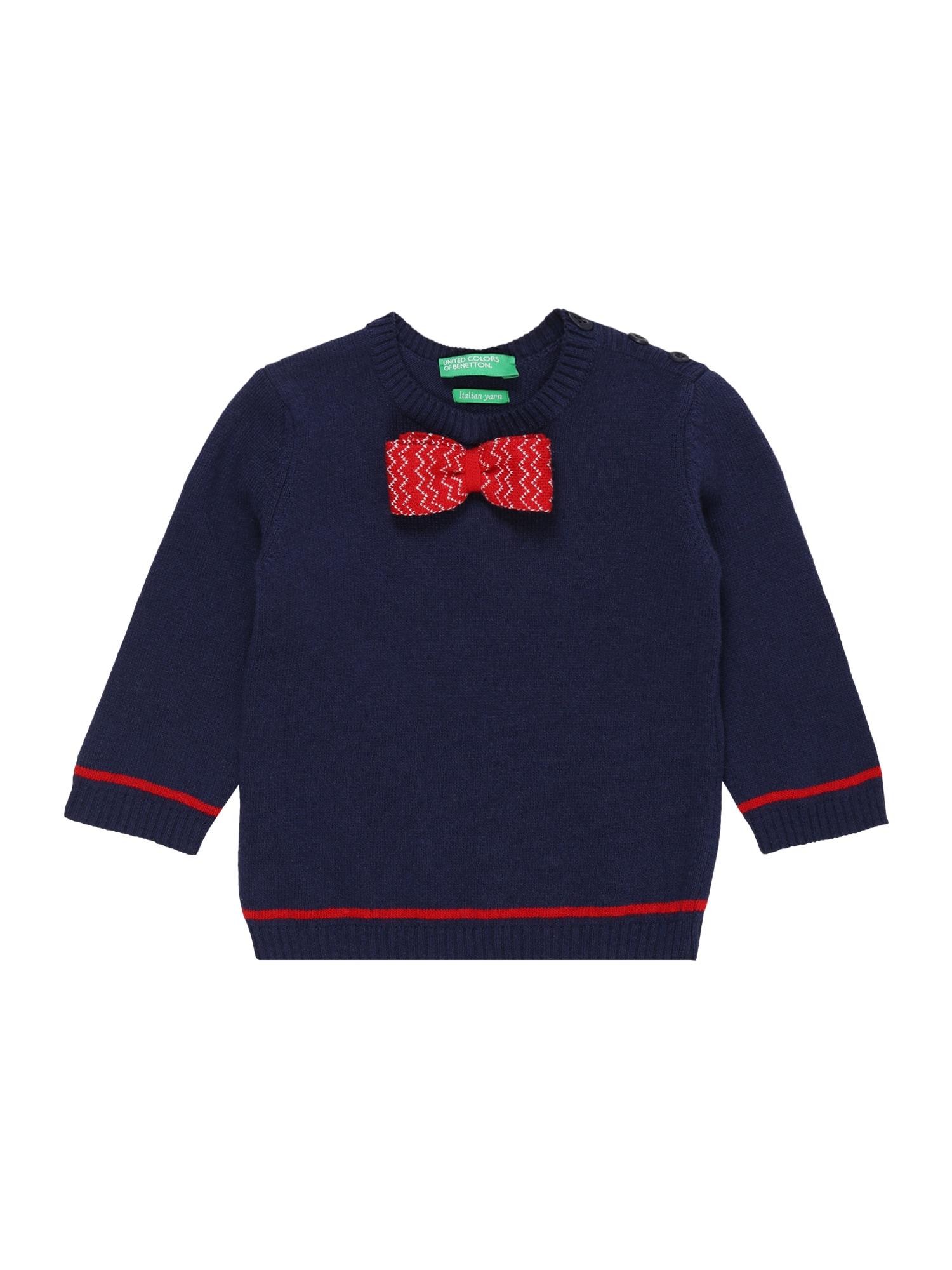 UNITED COLORS OF BENETTON Megztinis mėlyna / raudona