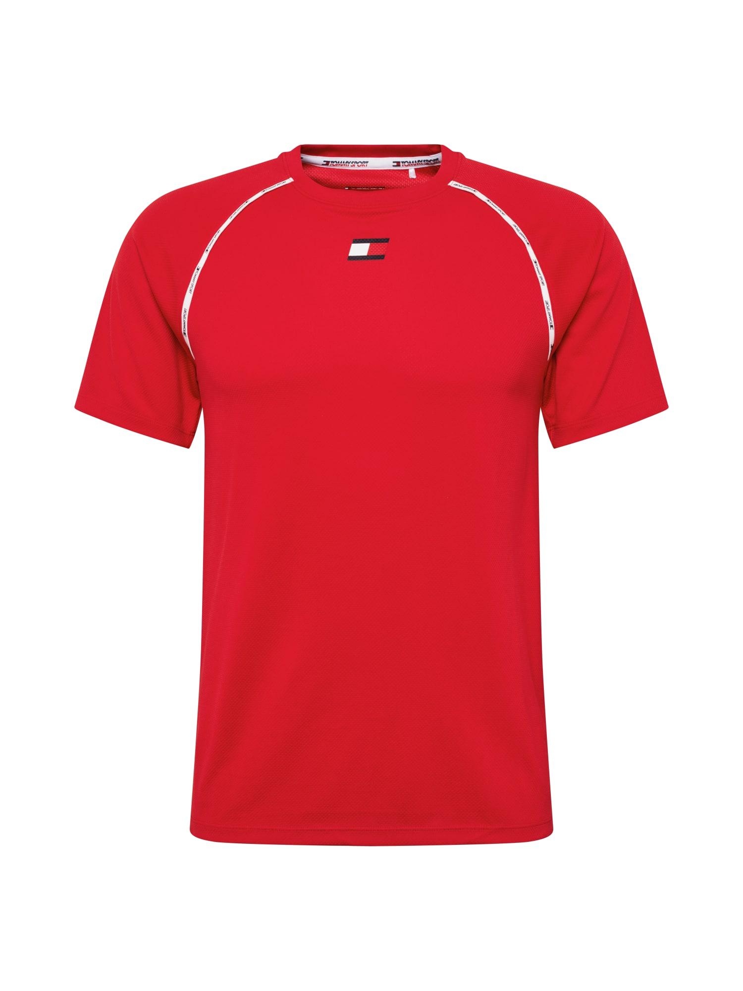 Tommy Sport Funkční tričko 'PIPING'  červená