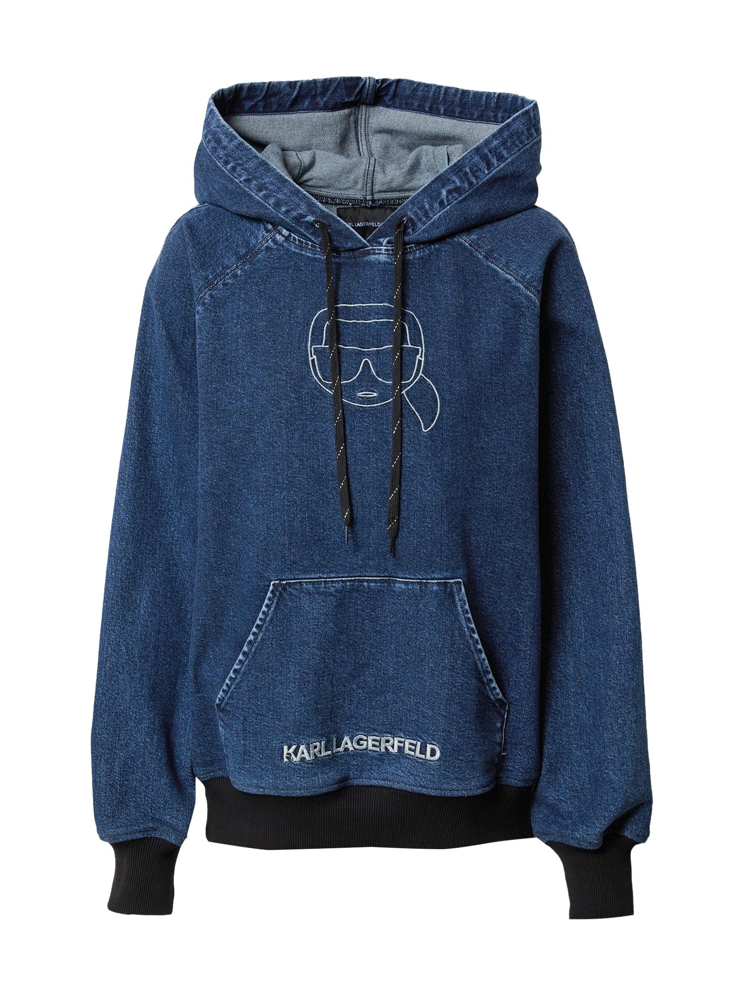 Karl Lagerfeld Denim Megztinis be užsegimo tamsiai (džinso) mėlyna / balta
