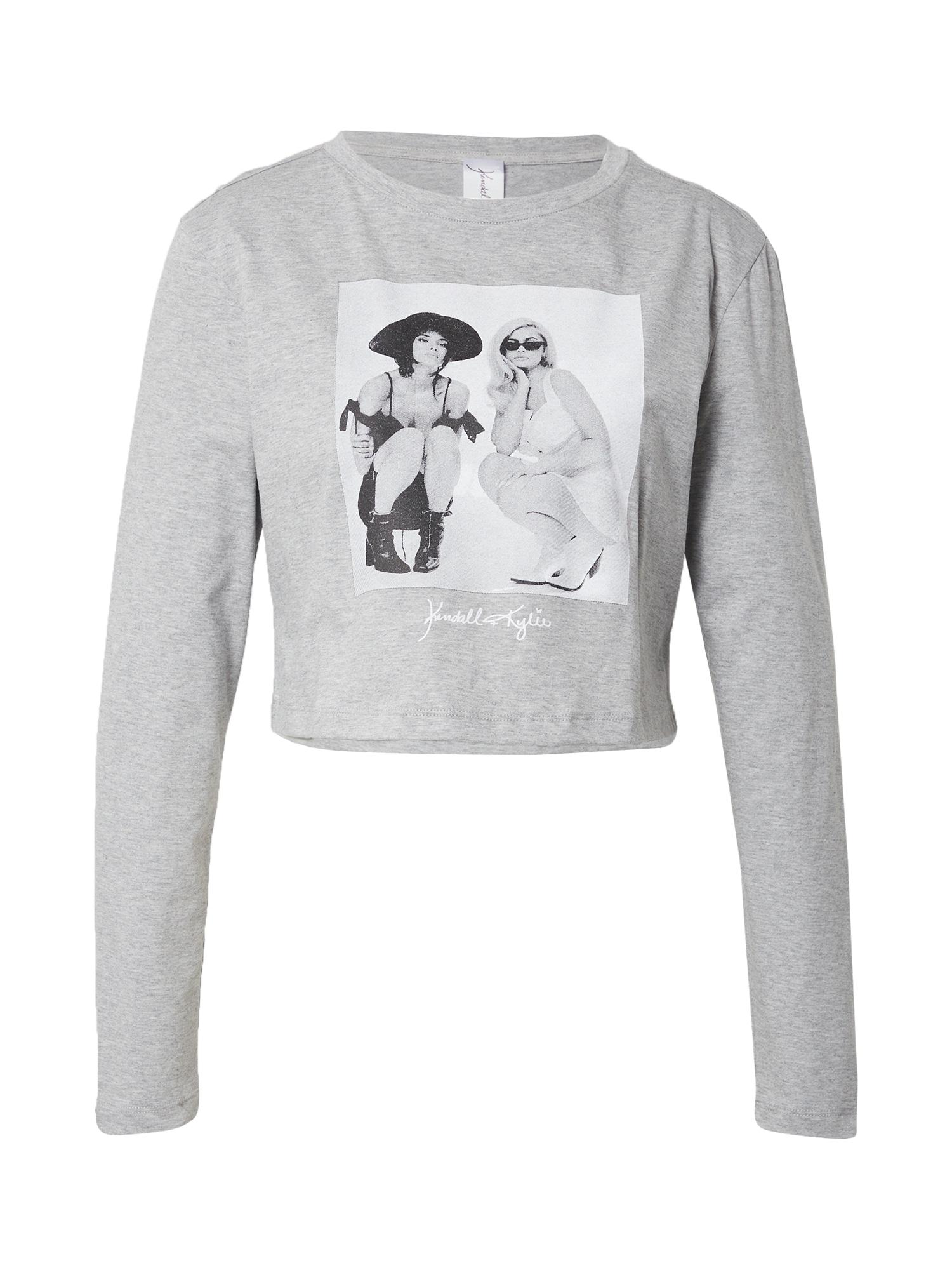 KENDALL + KYLIE Marškinėliai margai pilka / balta / juoda