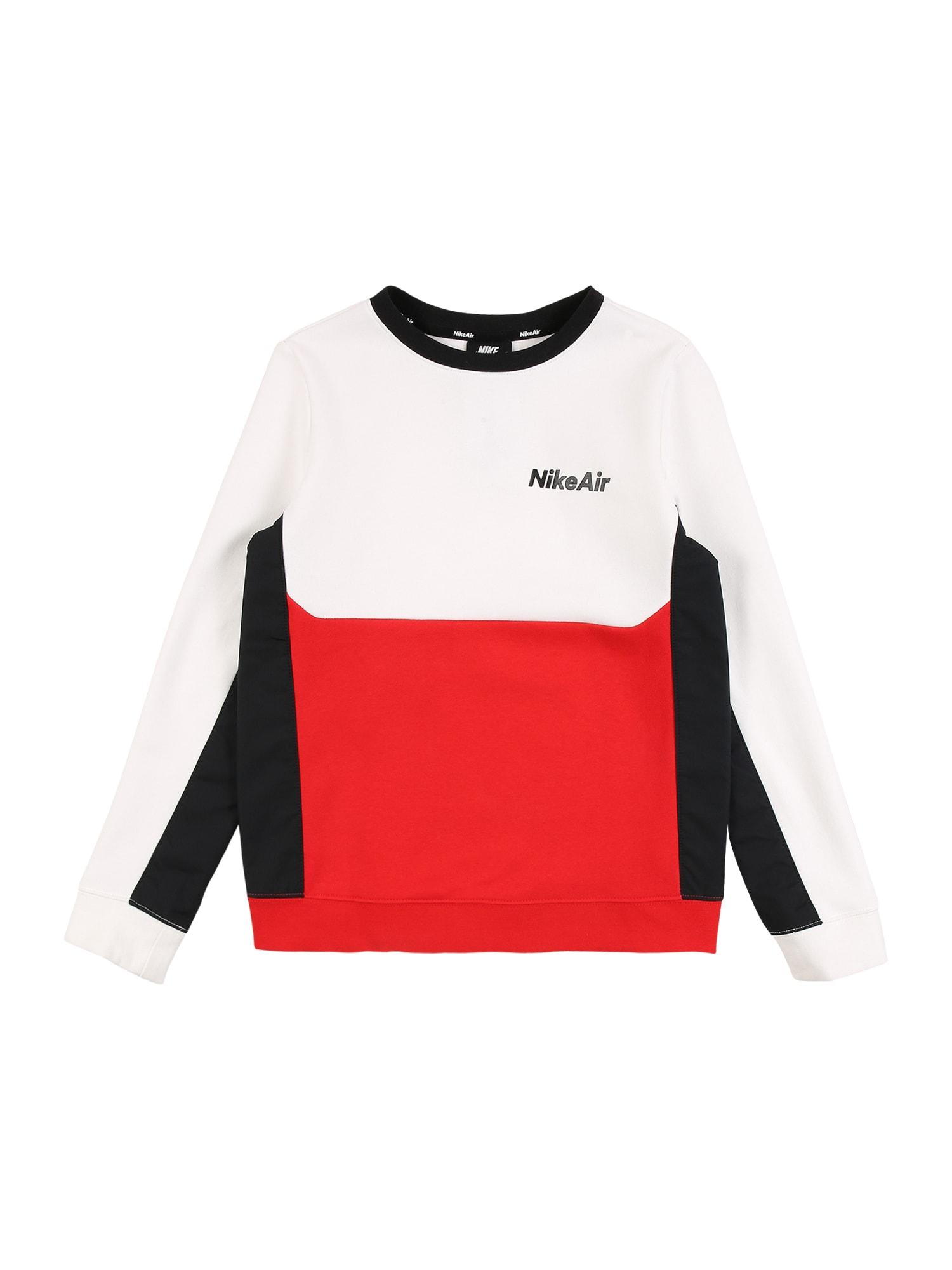 Nike Sportswear Mikina  černá / bílá / červená