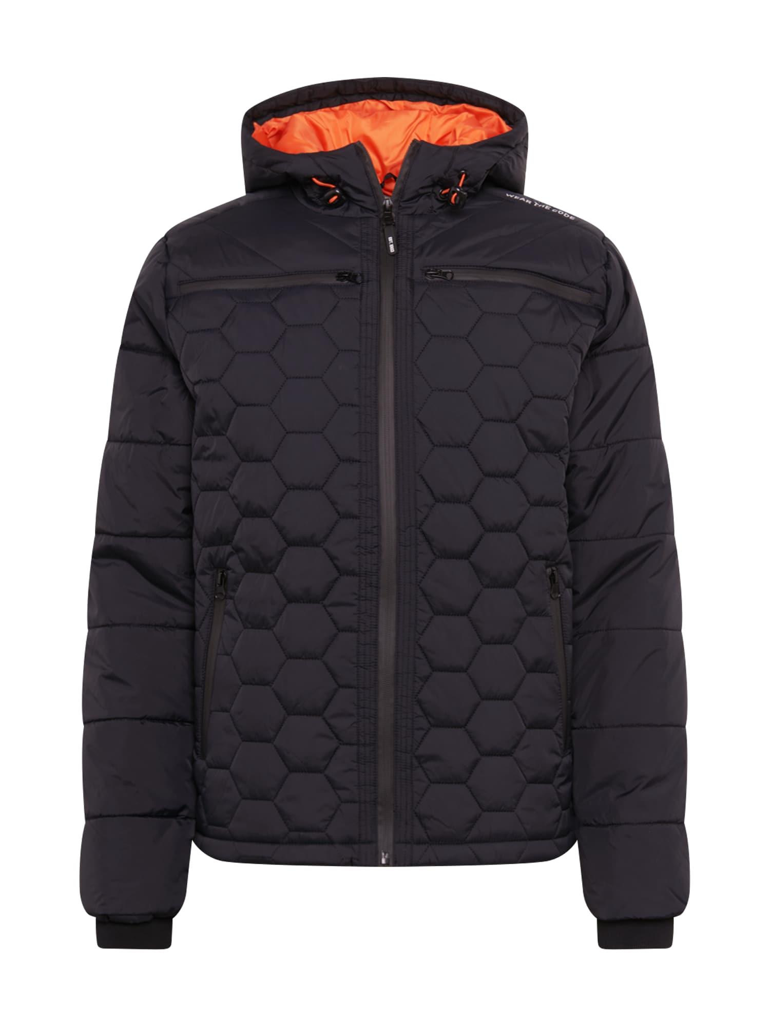 INDICODE JEANS Přechodná bunda 'Coates'  tmavě oranžová / černý melír