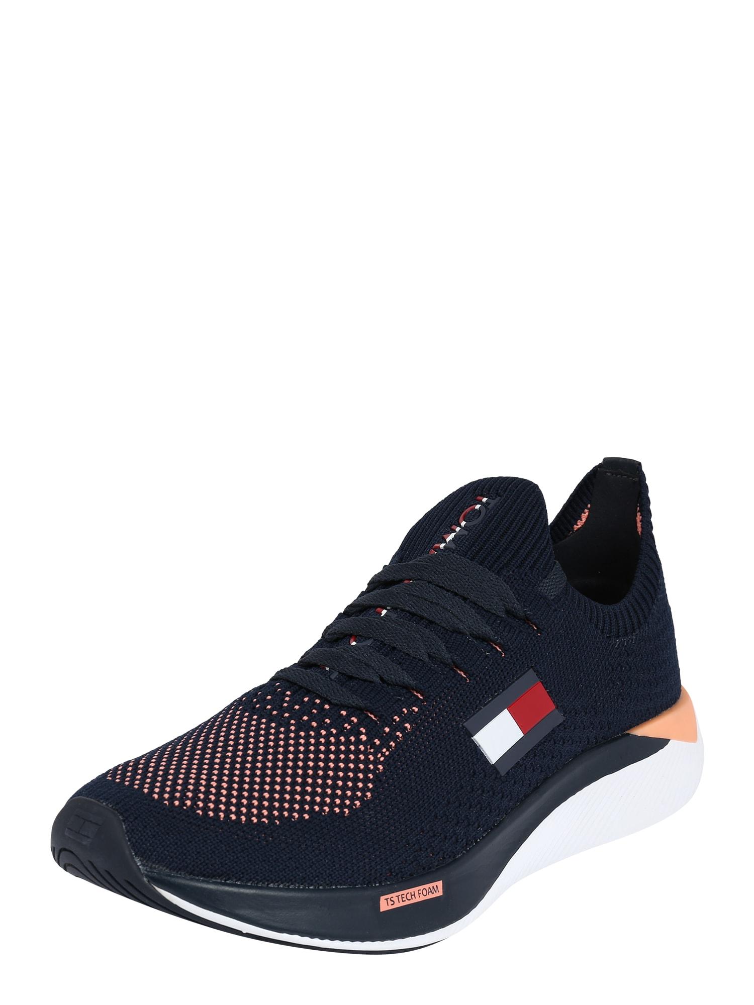 Tommy Sport Sportiniai batai tamsiai mėlyna / persikų spalva / raudona