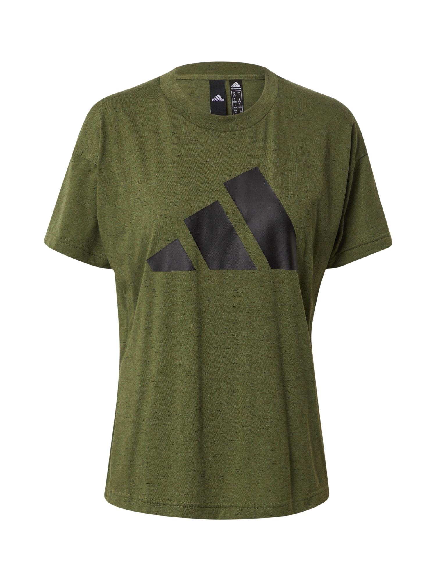 ADIDAS PERFORMANCE Sportiniai marškinėliai alyvuogių spalva / juoda