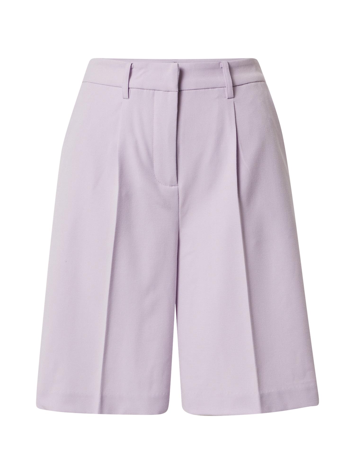 ICHI Klostuotos kelnės pastelinė violetinė