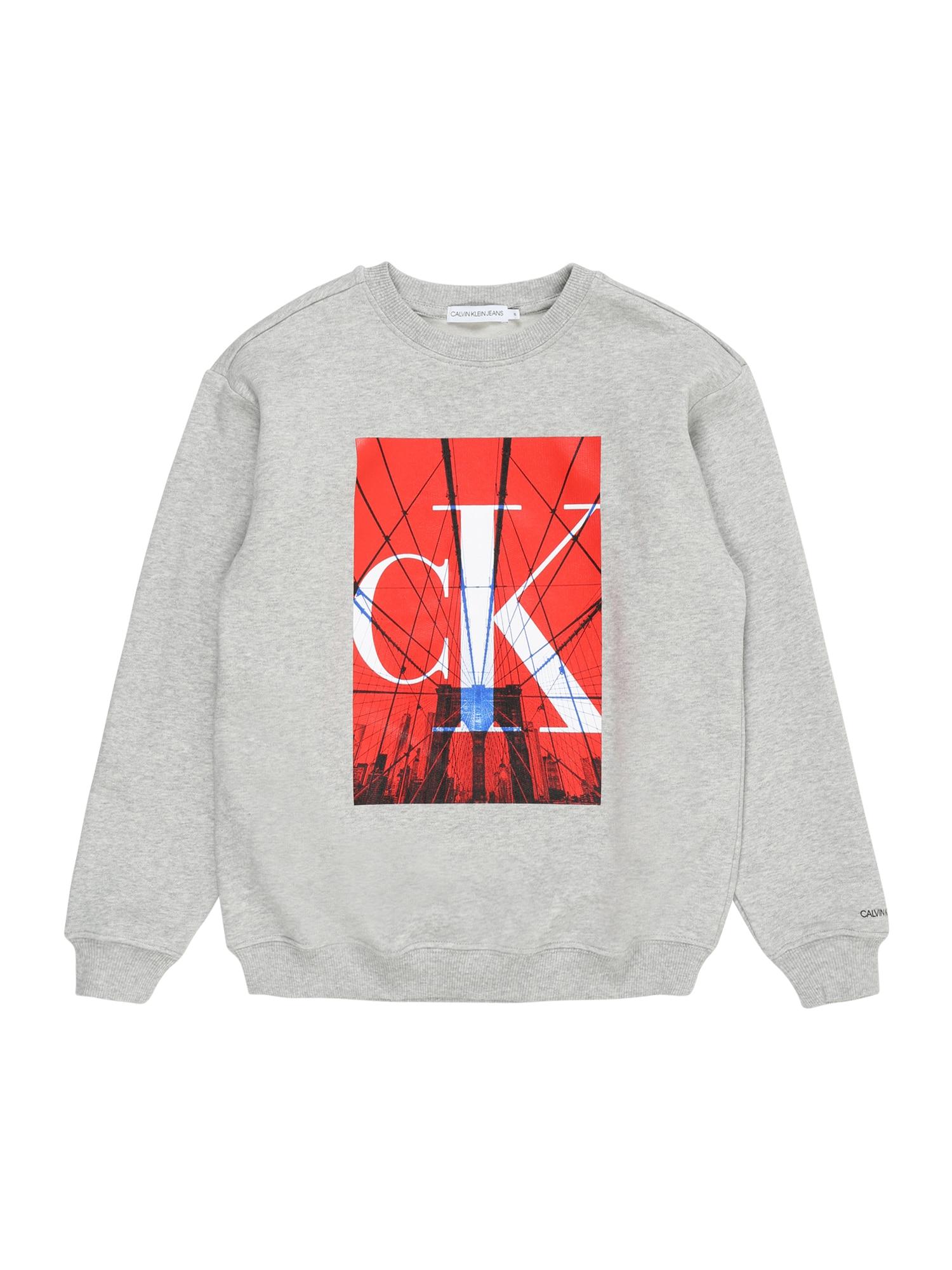 """Calvin Klein Jeans Megztinis be užsegimo šviesiai pilka / raudona / juoda / sodri mėlyna (""""karališka"""")"""