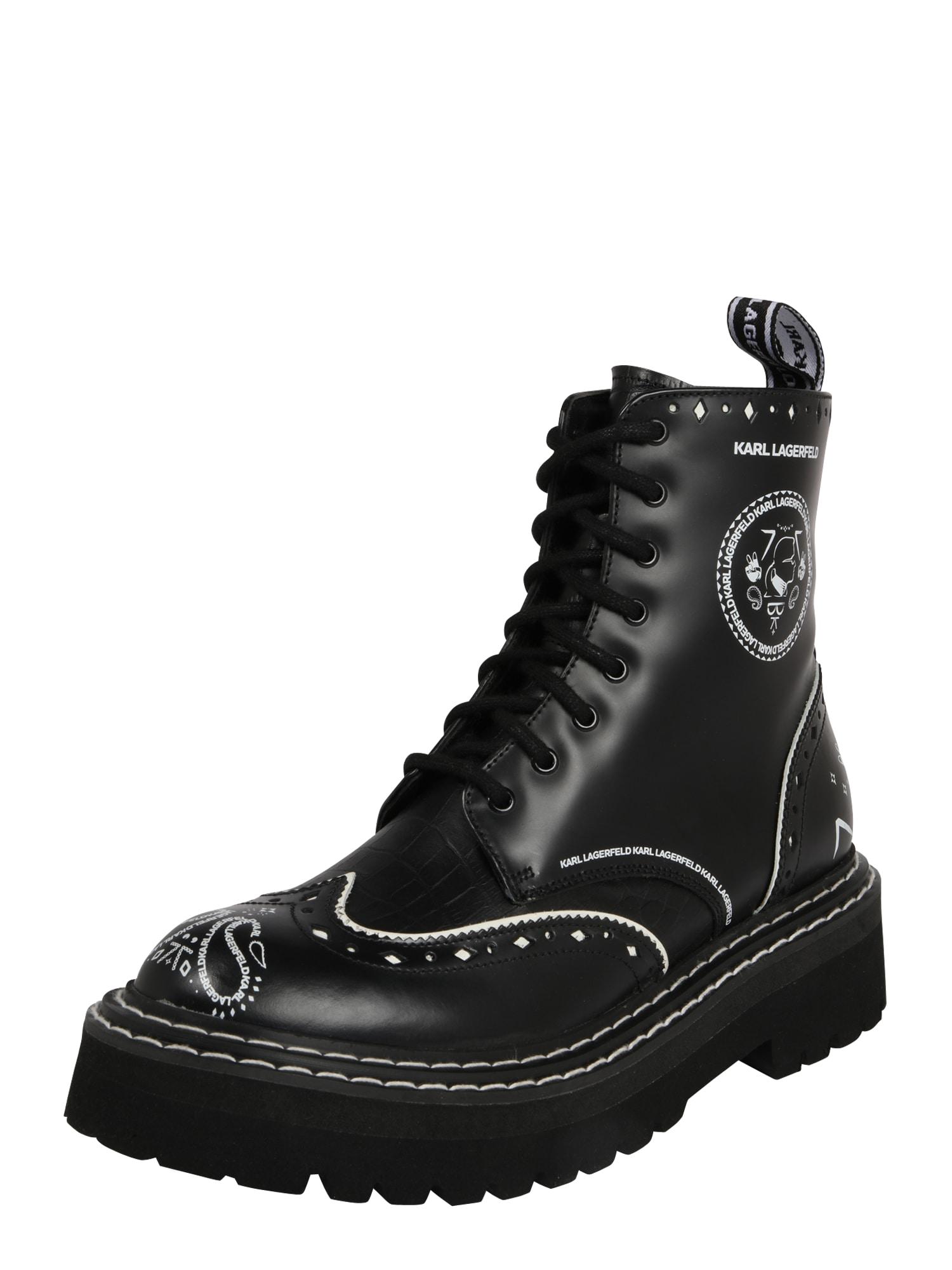 Karl Lagerfeld Šněrovací boty 'Patrol II'  černá / bílá