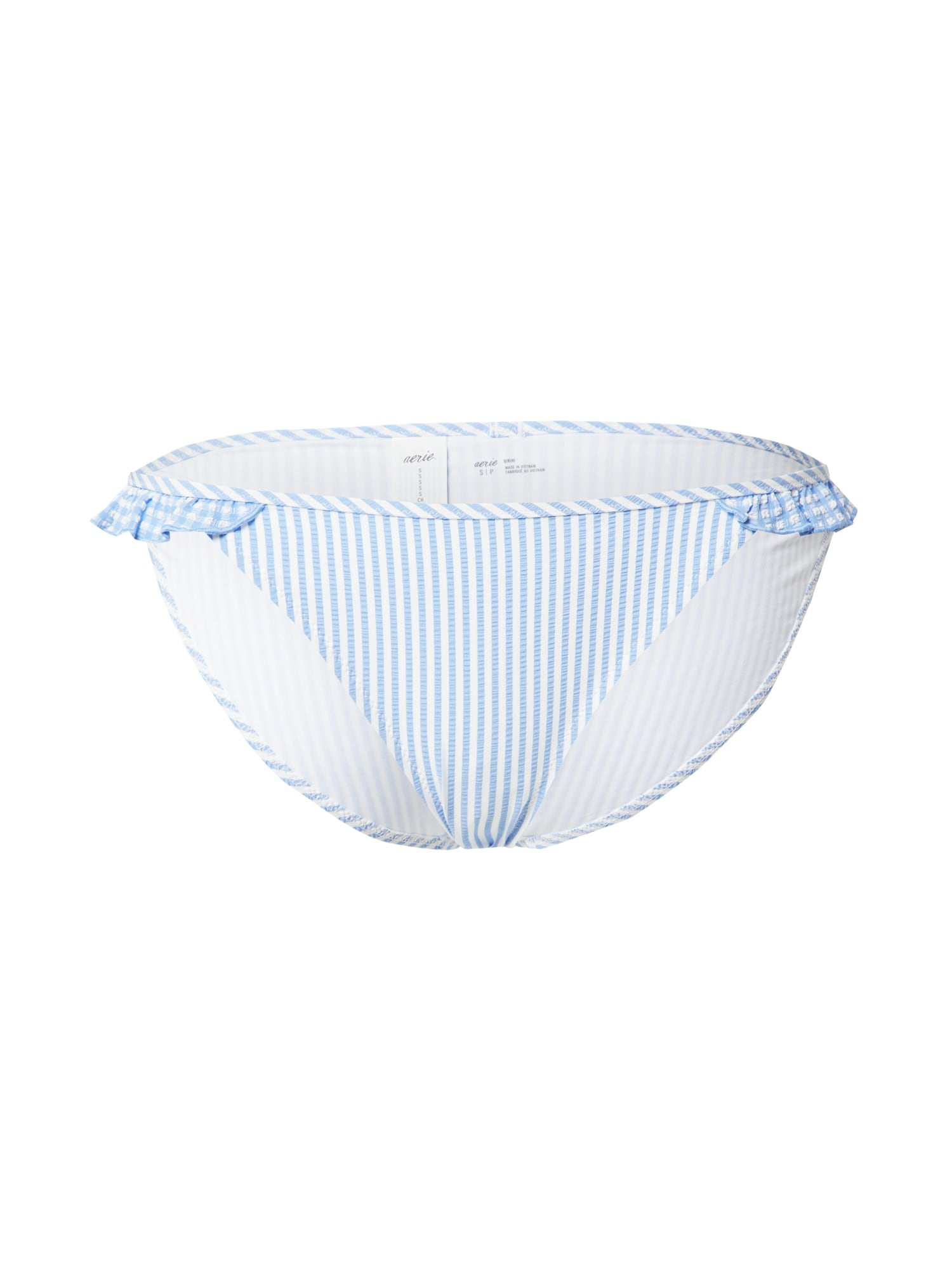 AERIE Bikinio kelnaitės šviesiai mėlyna / balta