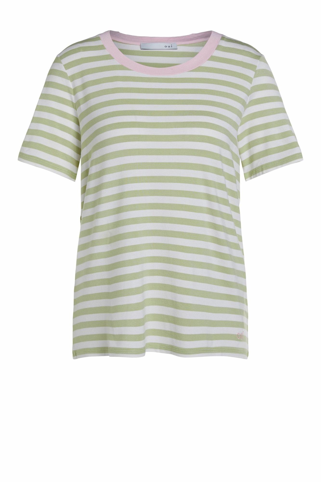 OUI Marškinėliai žalia / balta / rožinė