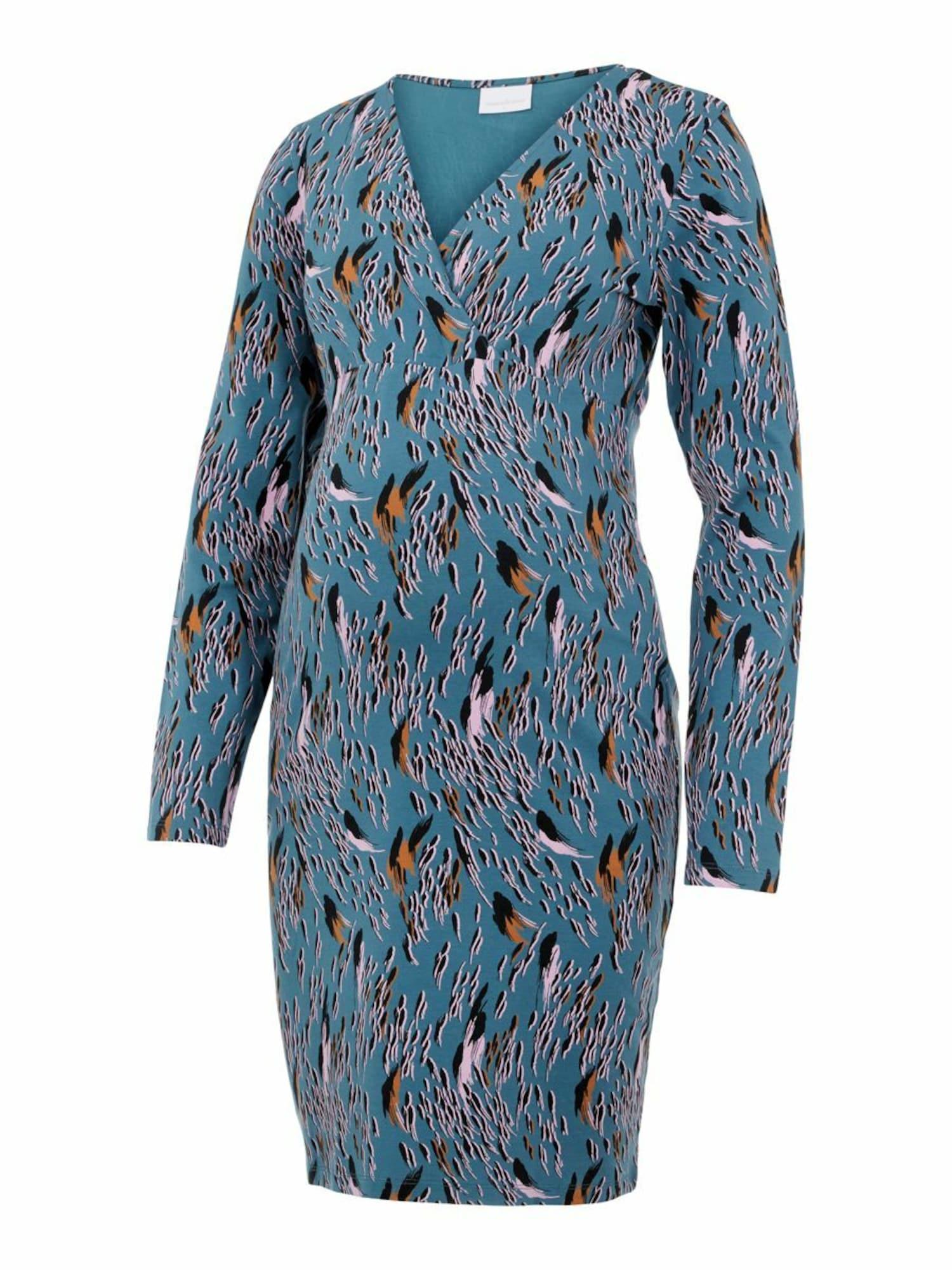 MAMALICIOUS Suknelė 'Addis Tess' benzino spalva / rožių spalva / juoda / ruda (konjako)