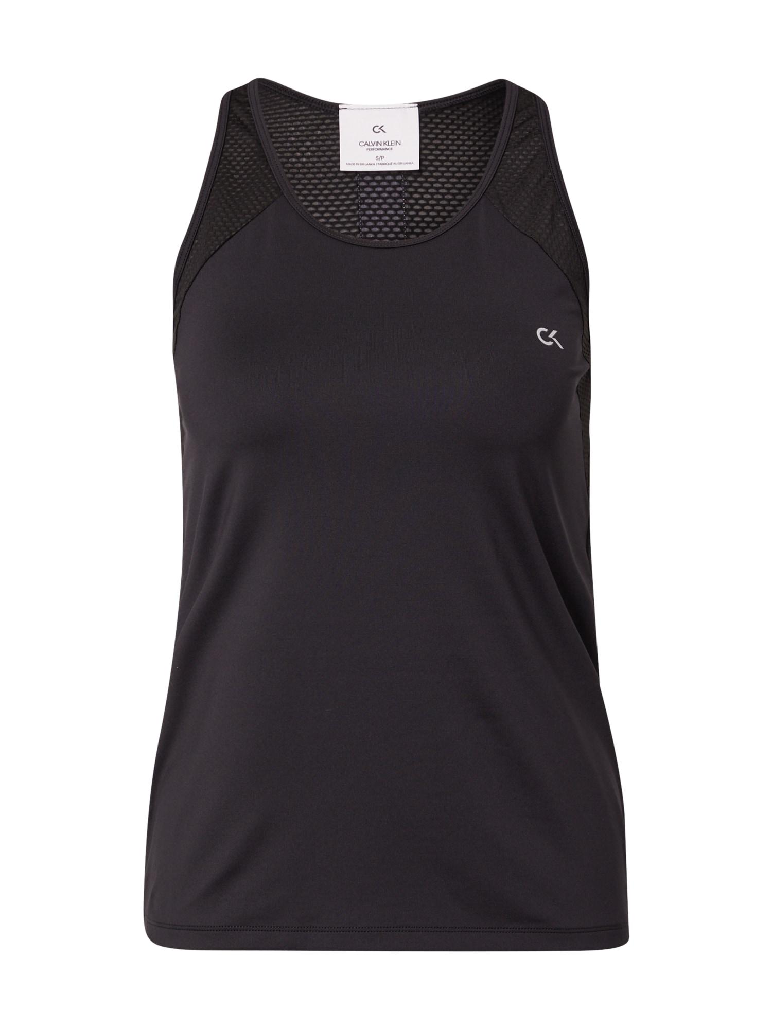 Calvin Klein Performance Sportiniai marškinėliai be rankovių juoda / balta