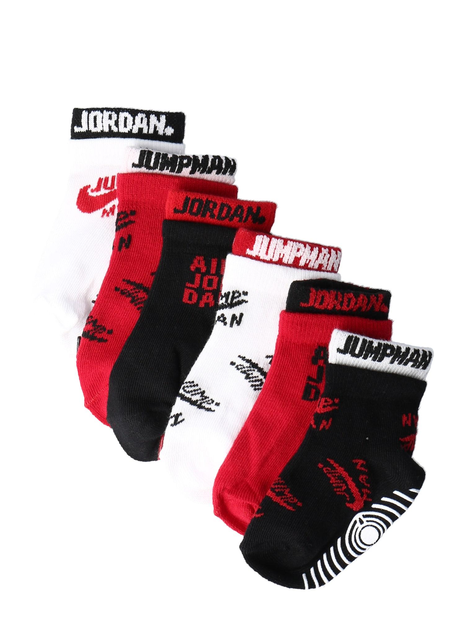 Jordan Kojinės raudona / balta / juoda