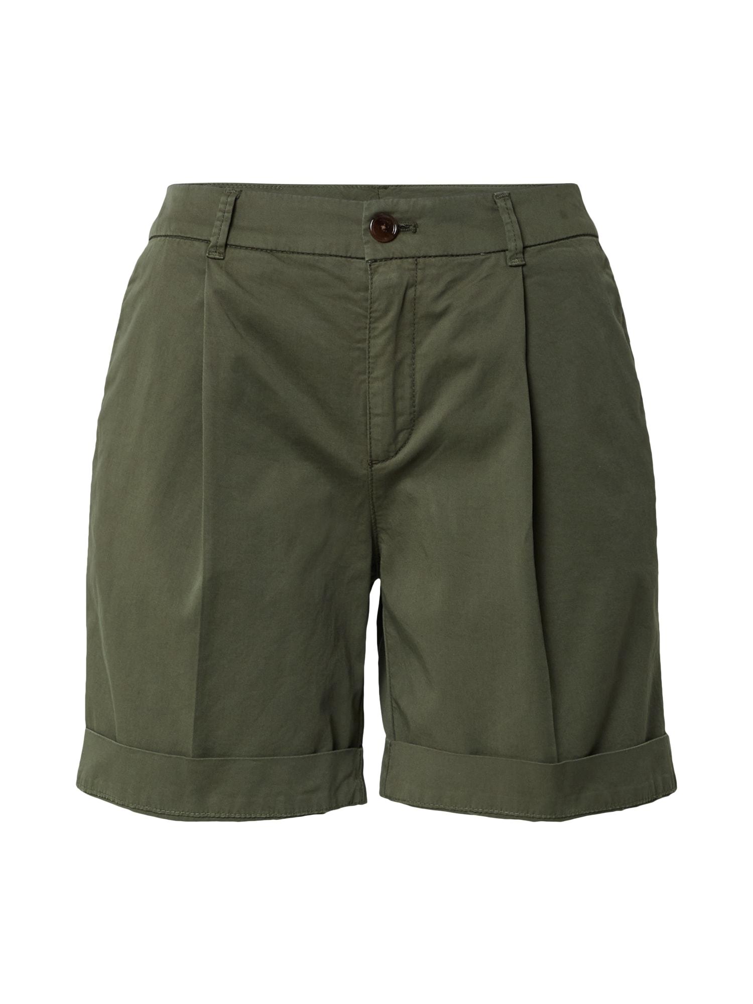 BOSS Klostuotos kelnės 'Taggie' rusvai žalia