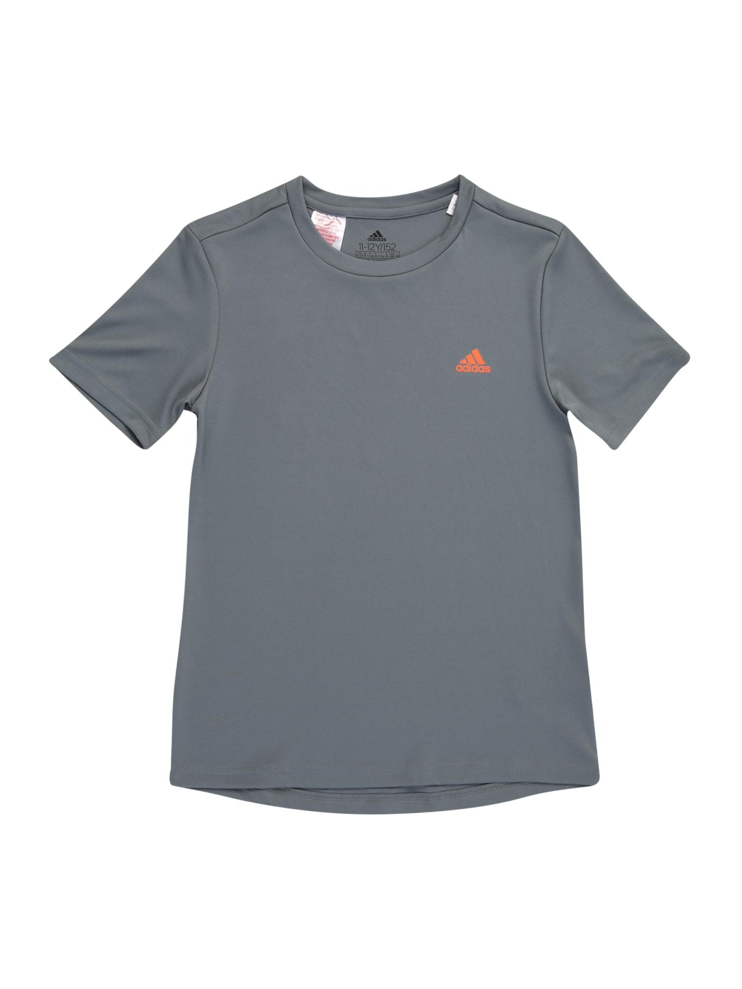 ADIDAS PERFORMANCE Sportiniai marškinėliai melsvai pilka / oranžinė