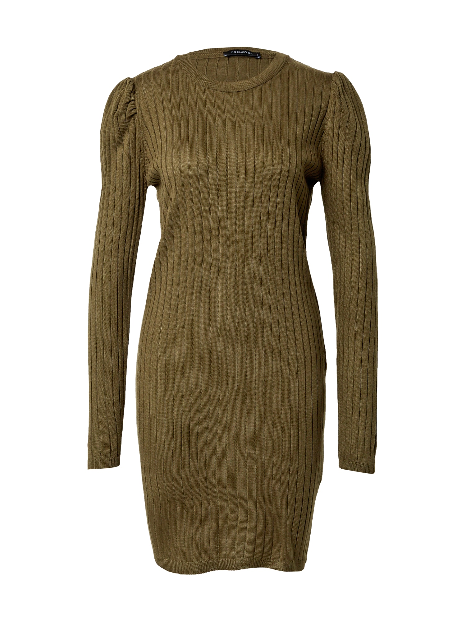 Trendyol Megzta suknelė alyvuogių spalva