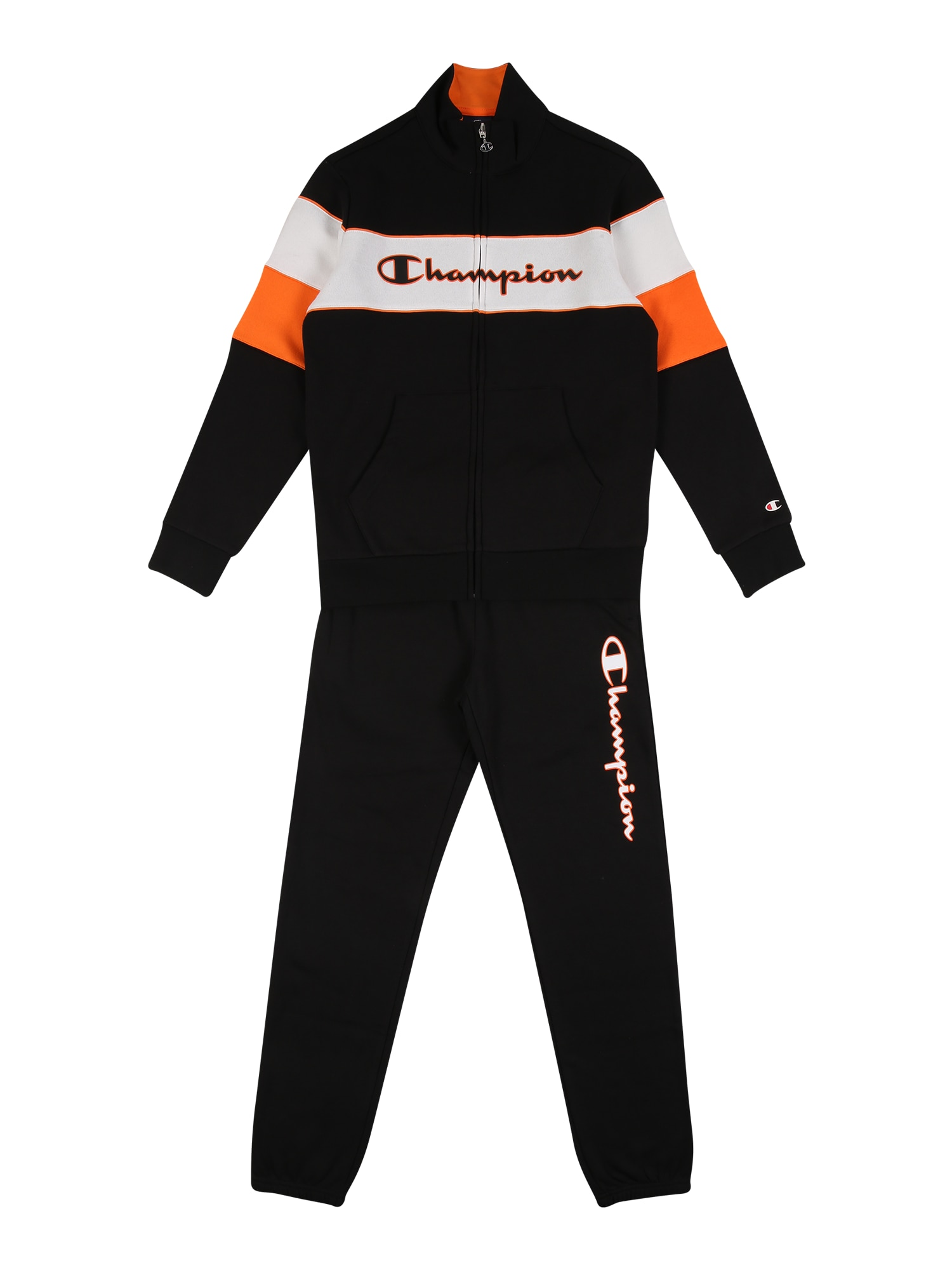 Champion Authentic Athletic Apparel Treniruočių kostiumas juoda / balta / oranžinė