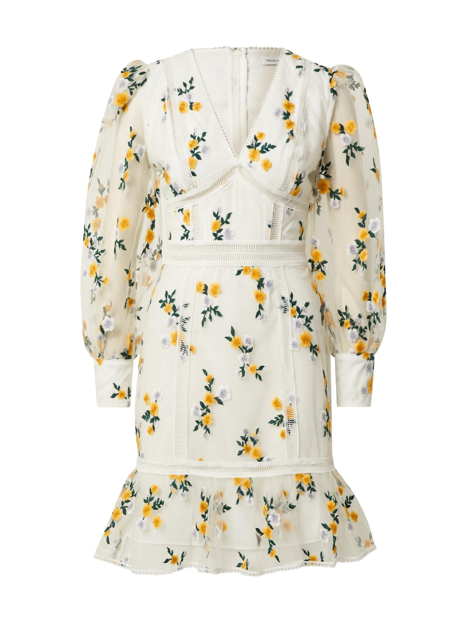True Decadence Palaidinės tipo suknelė balta / žalia / geltona
