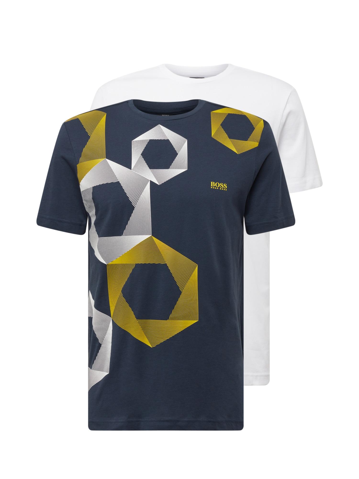 BOSS ATHLEISURE Marškinėliai melsvai pilka / balta / geltona