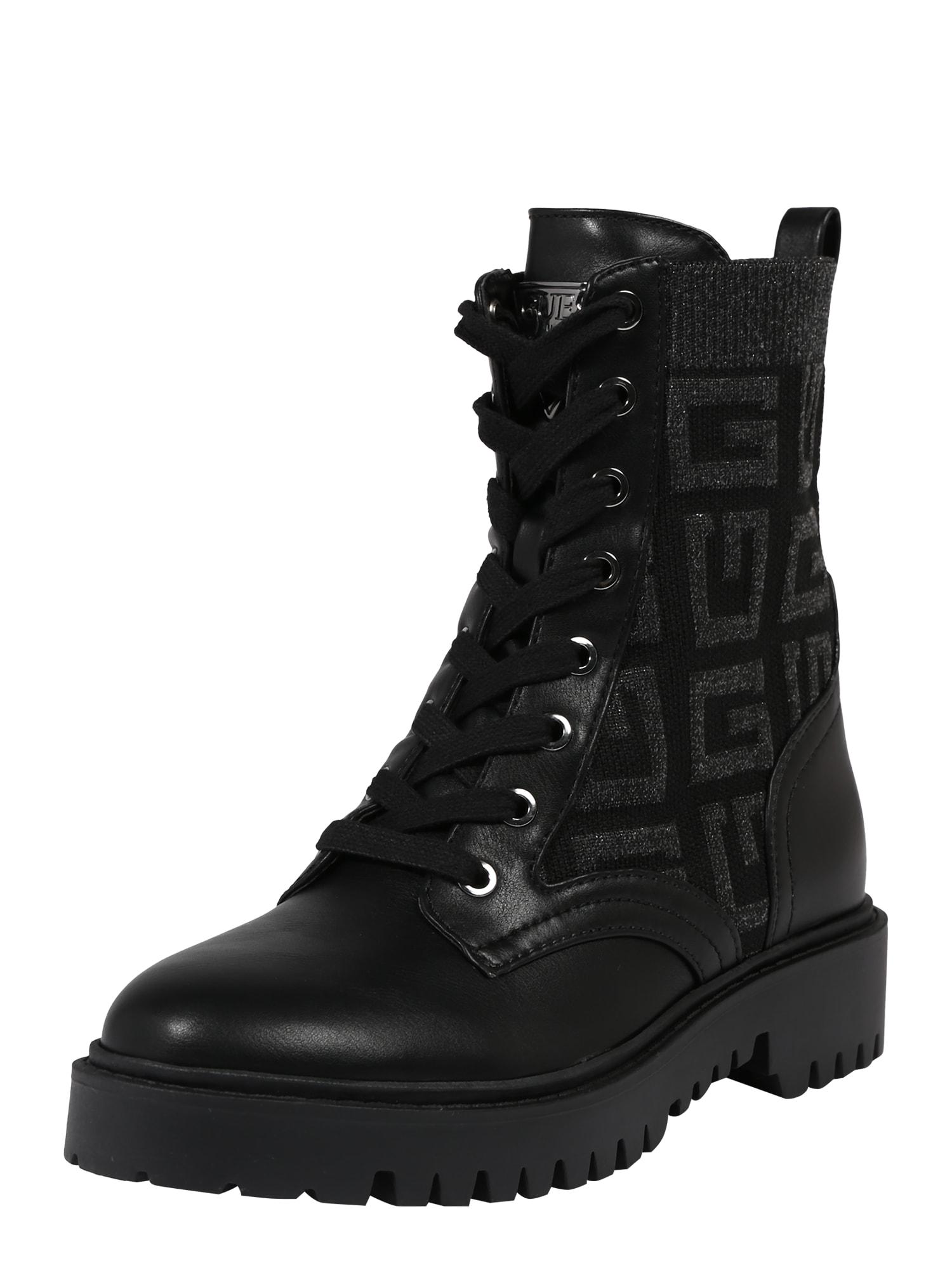 GUESS Suvarstomieji kulkšnis dengiantys batai juoda / antracito