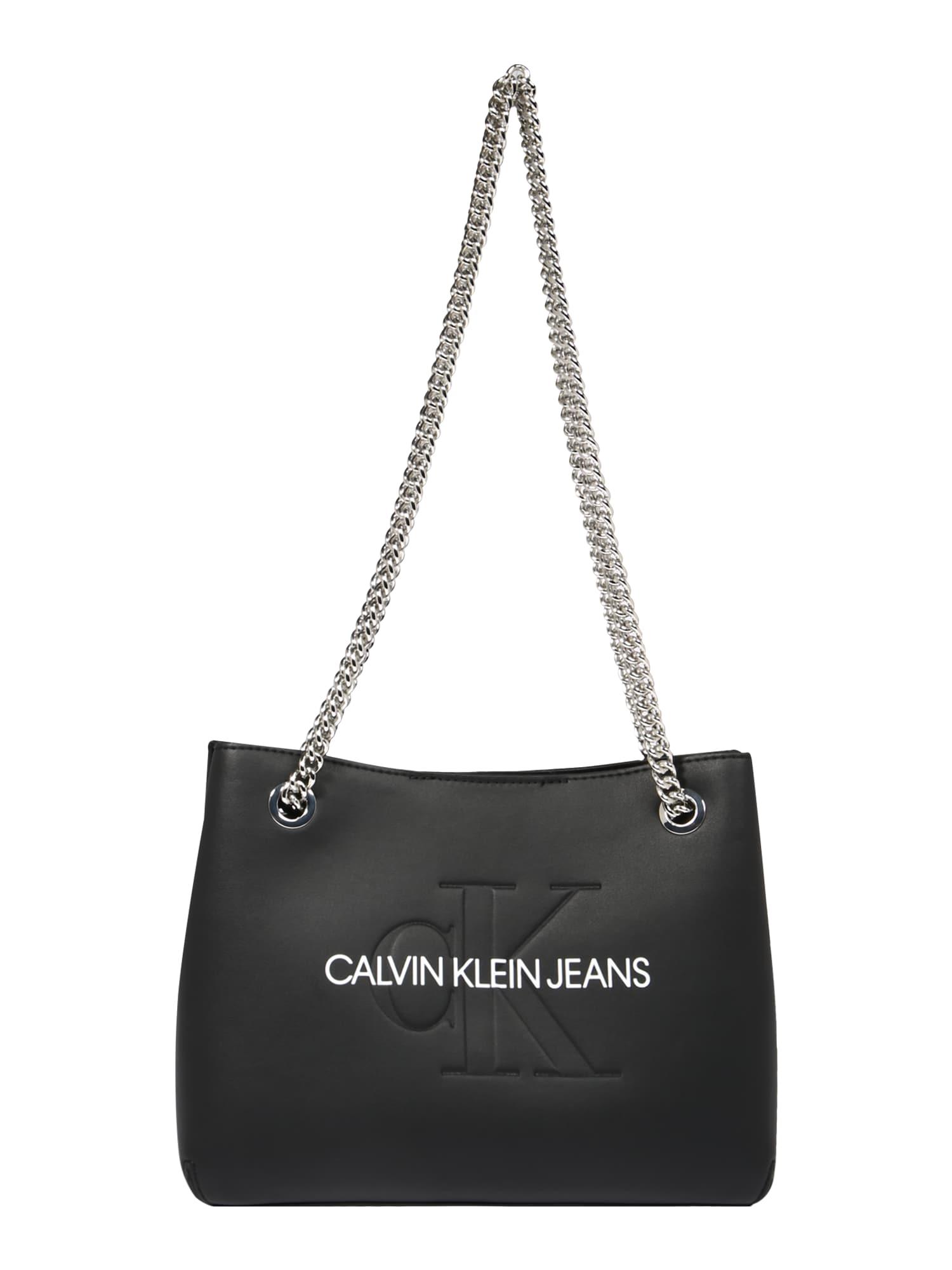 Calvin Klein Jeans Rankinė ant peties juoda / balta