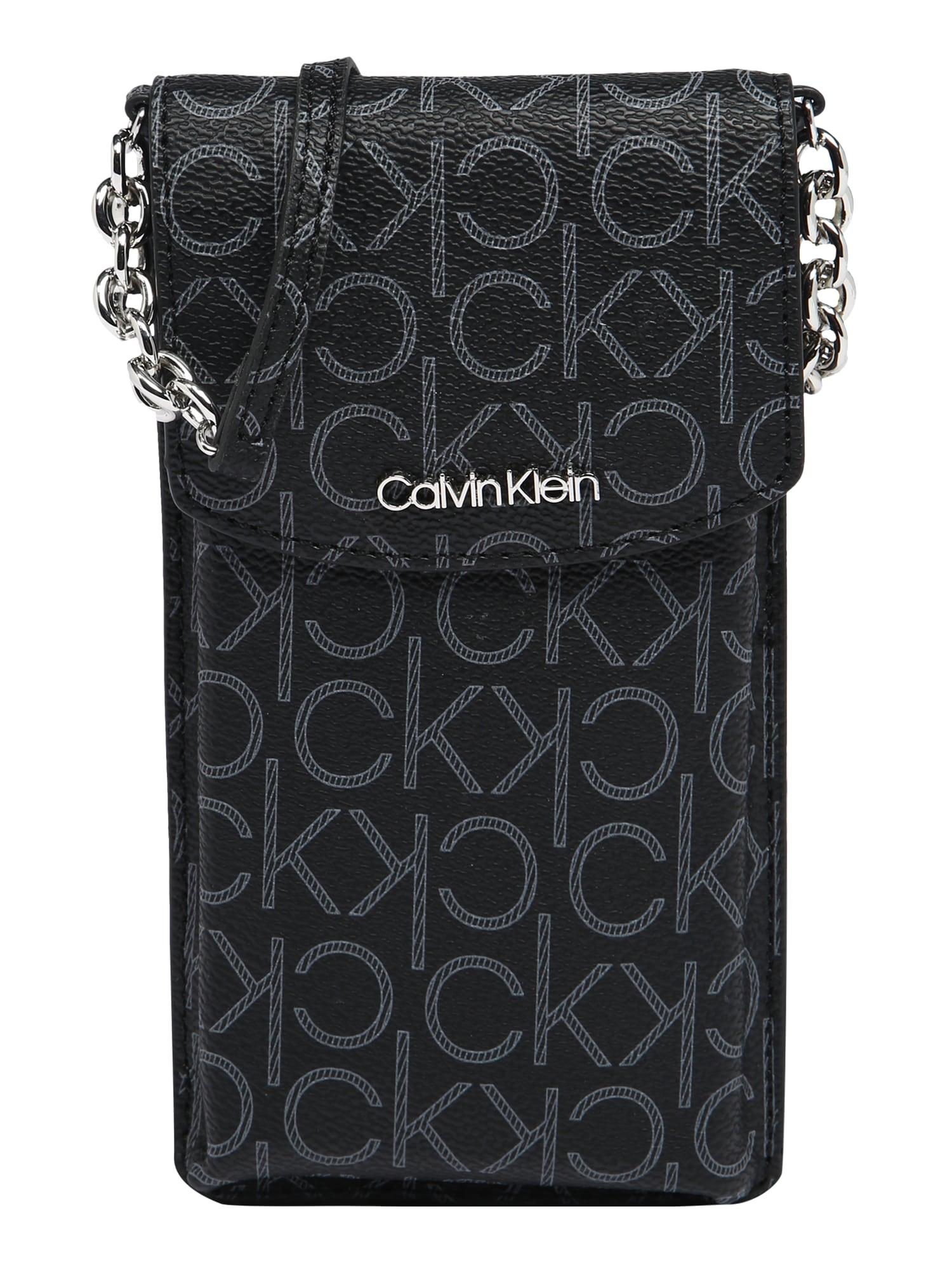 Calvin Klein Rankinė su ilgu dirželiu juoda / pilka