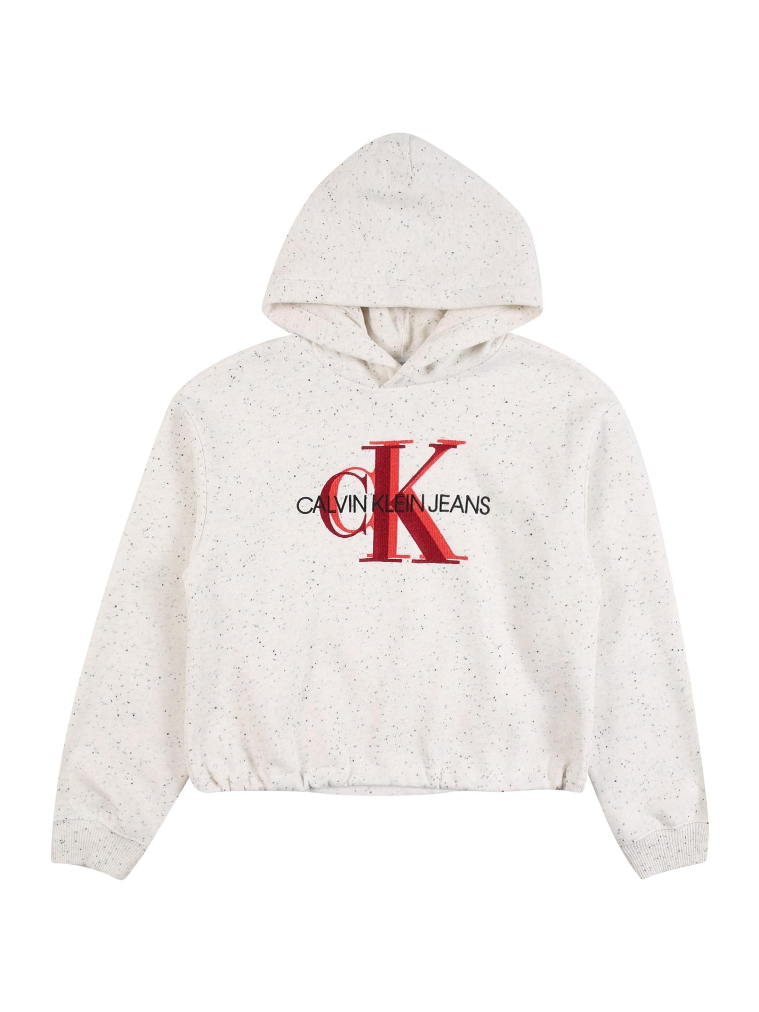 Calvin Klein Jeans Megztinis be užsegimo margai balta / raudona / juoda / oranžinė-raudona