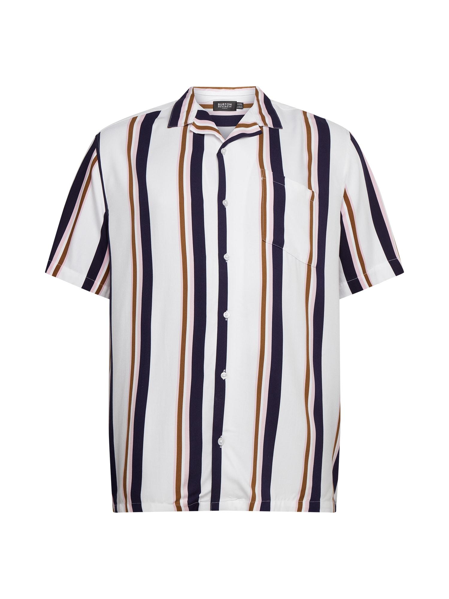 BURTON MENSWEAR LONDON Marškiniai balta / tamsiai mėlyna jūros spalva / ruda / ryškiai rožinė spalva