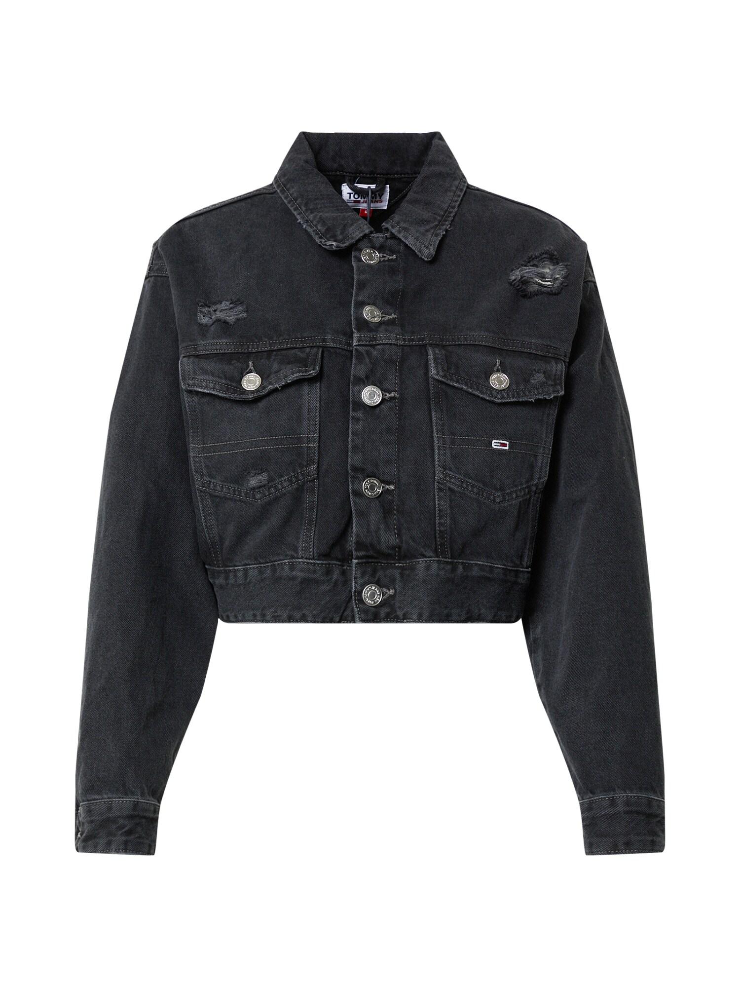 Tommy Jeans Demisezoninė striukė juodo džinso spalva / balta / raudona