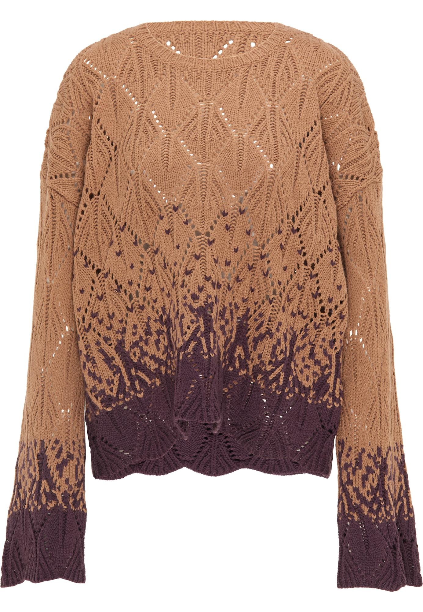 IZIA Megztinis šviesiai ruda / baklažano spalva