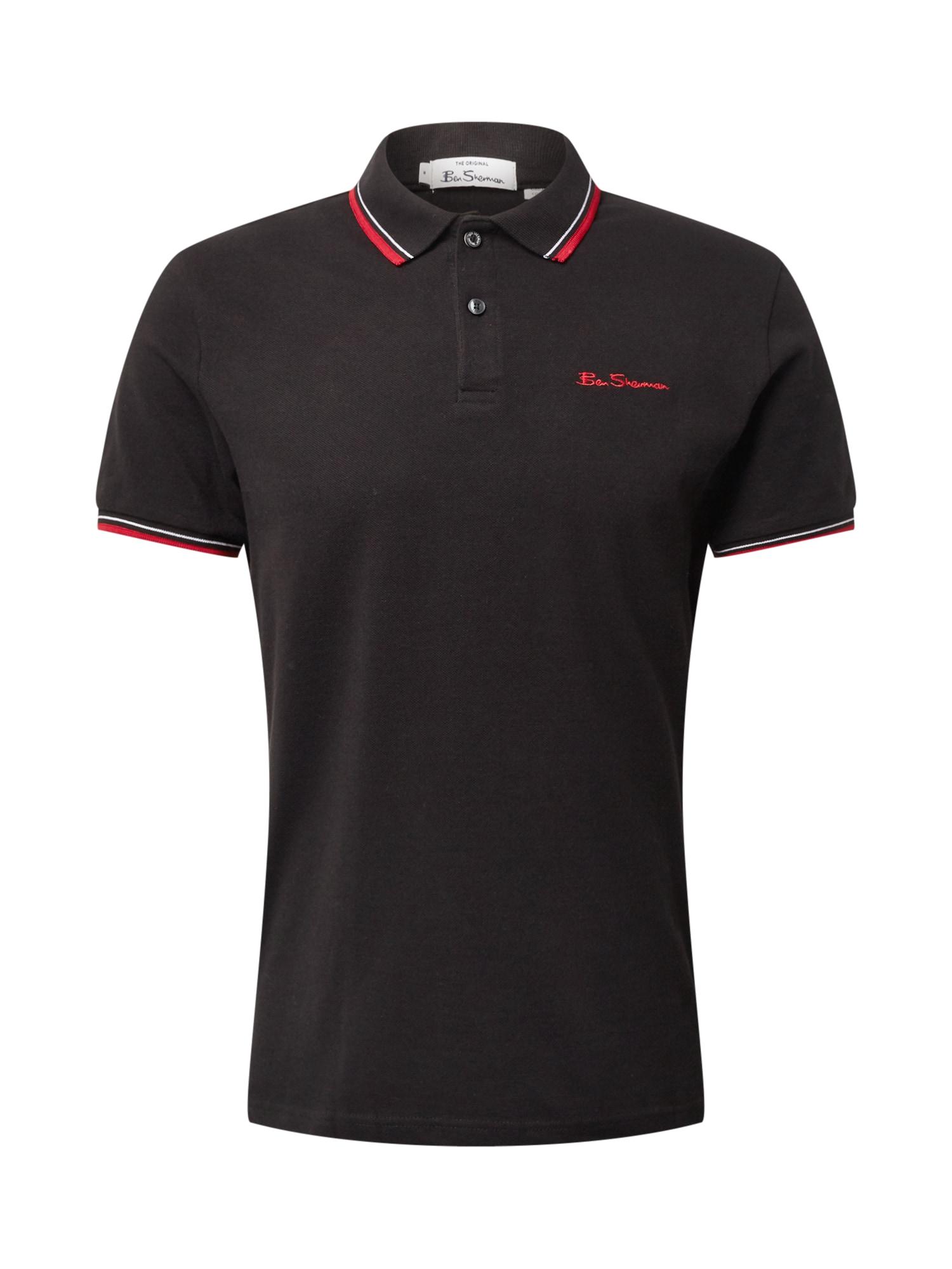 Ben Sherman Marškinėliai juoda / šviesiai raudona / balta