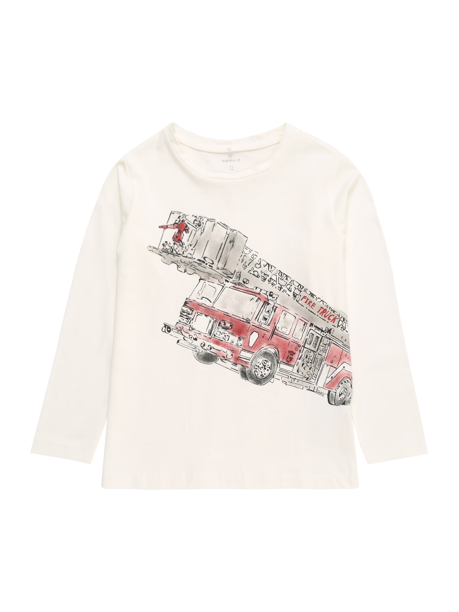 NAME IT Tričko 'ROBIN'  bílá / šedá / červená