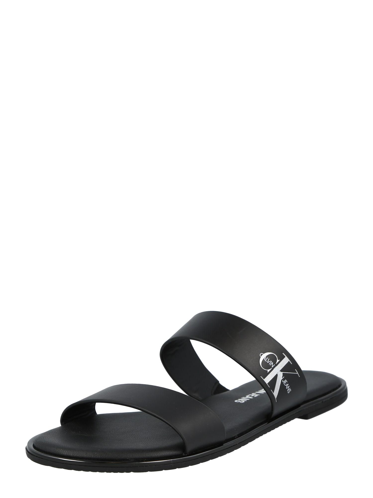 Calvin Klein Jeans Basutės su dirželiais juoda / balta
