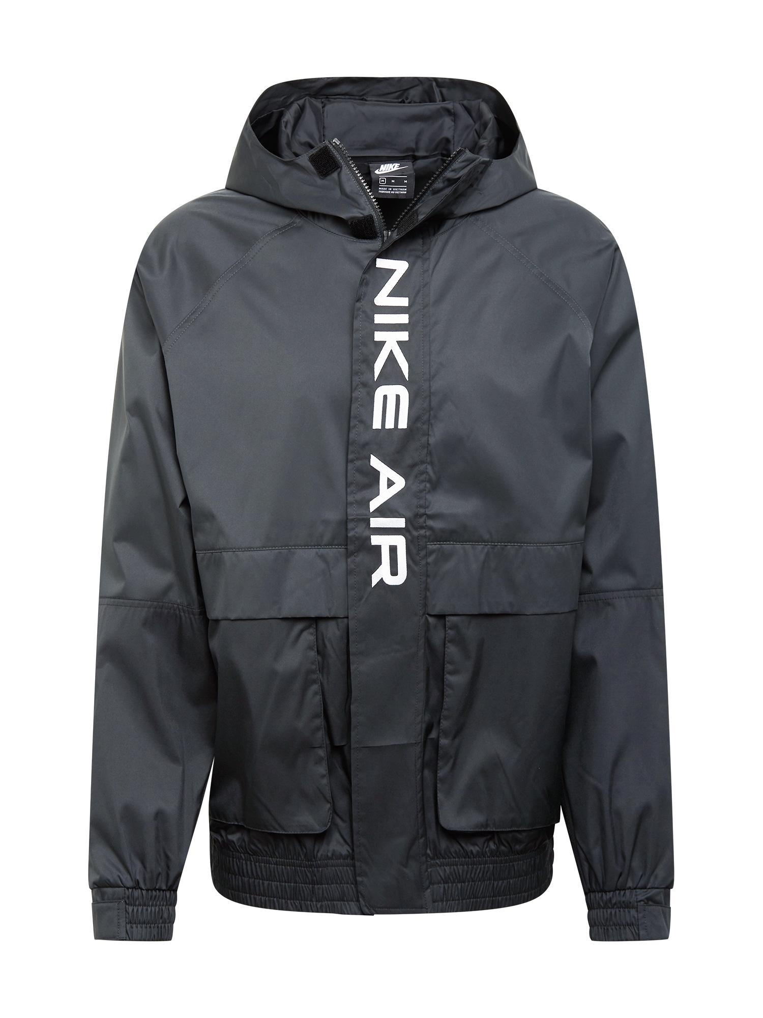 Nike Sportswear Demisezoninė striukė tamsiai pilka / juoda