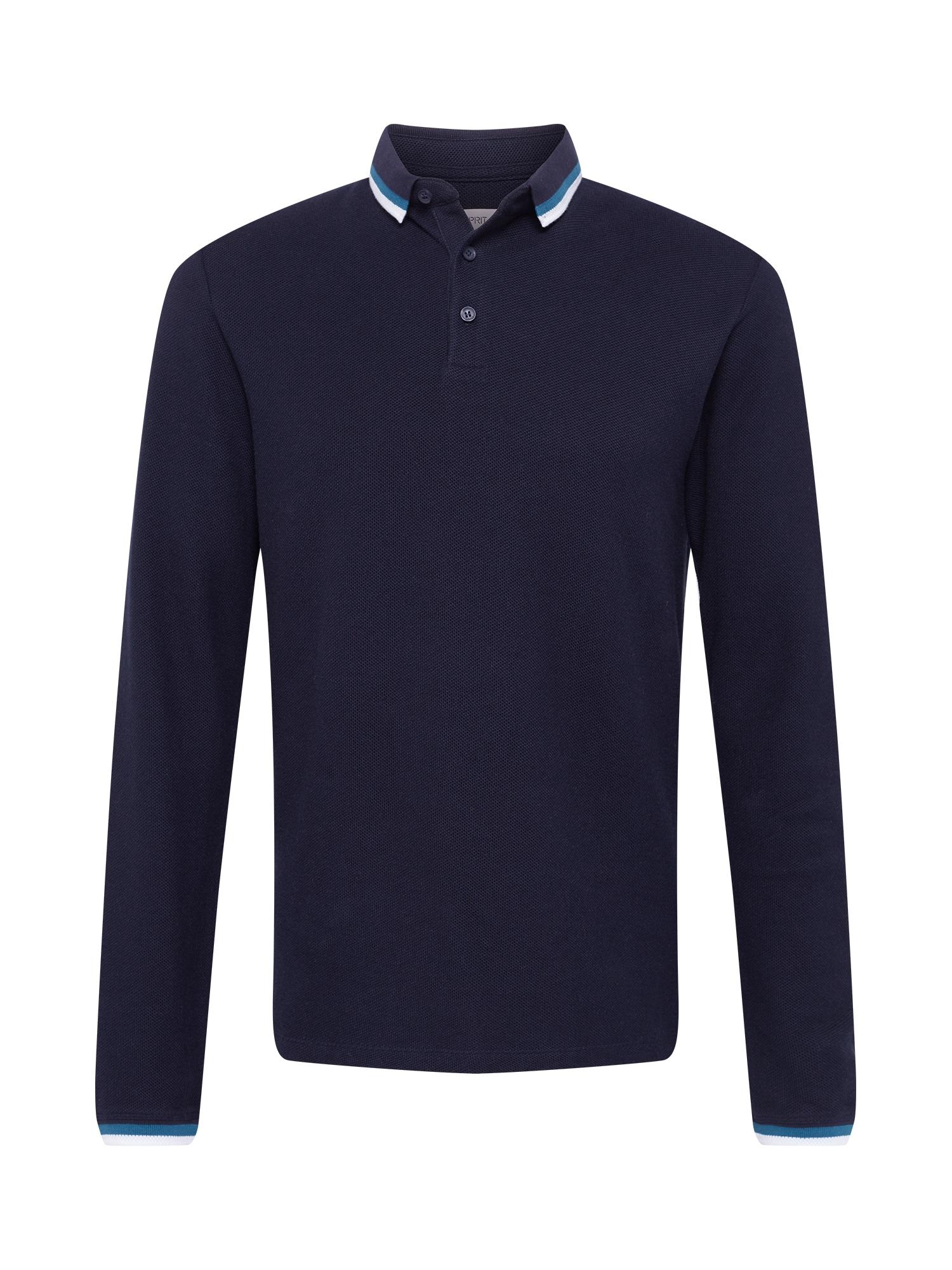 ESPRIT Marškinėliai tamsiai mėlyna / balta / dangaus žydra