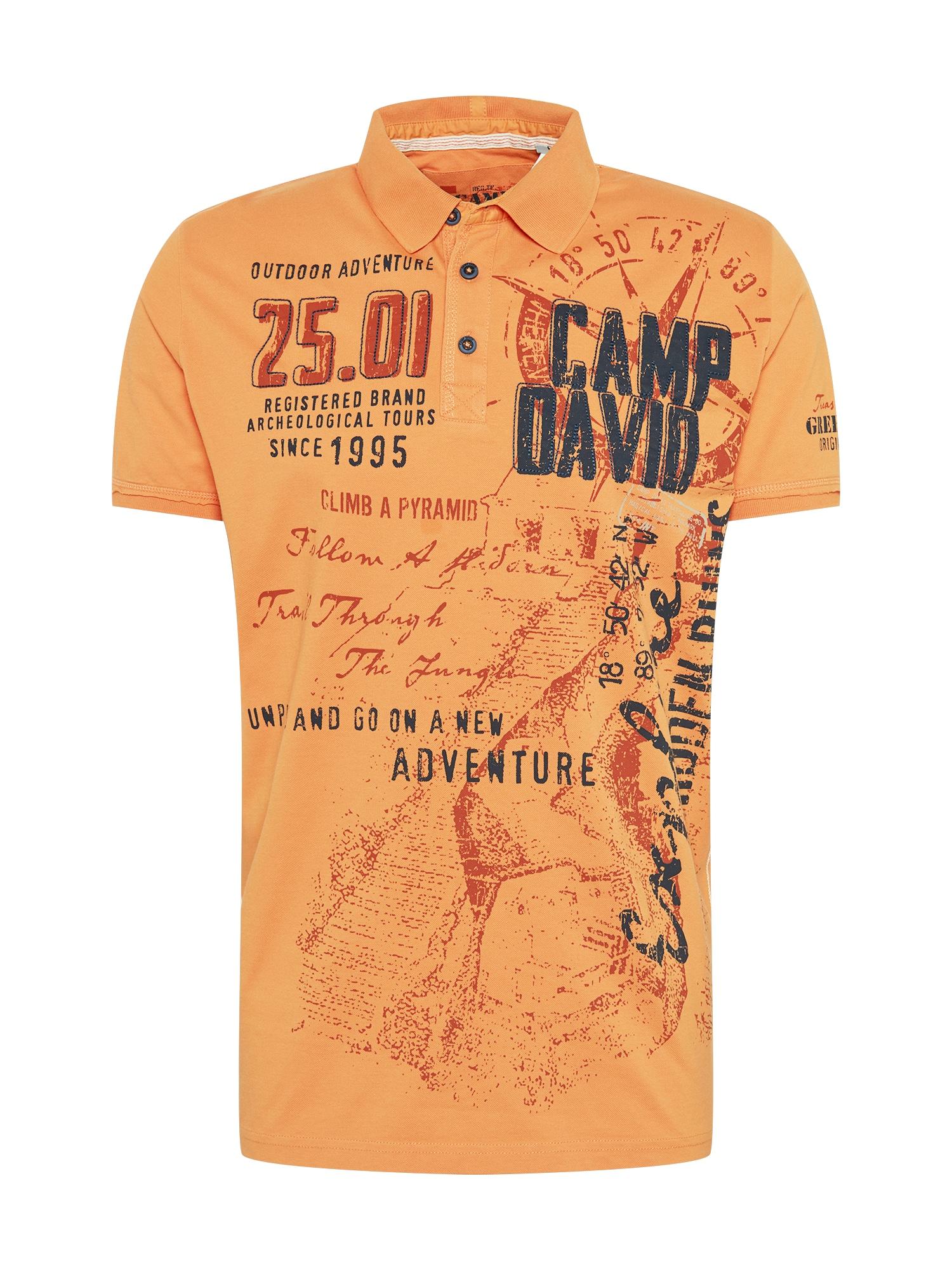 CAMP DAVID Marškinėliai abrikosų spalva / tamsiai oranžinė / tamsiai mėlyna