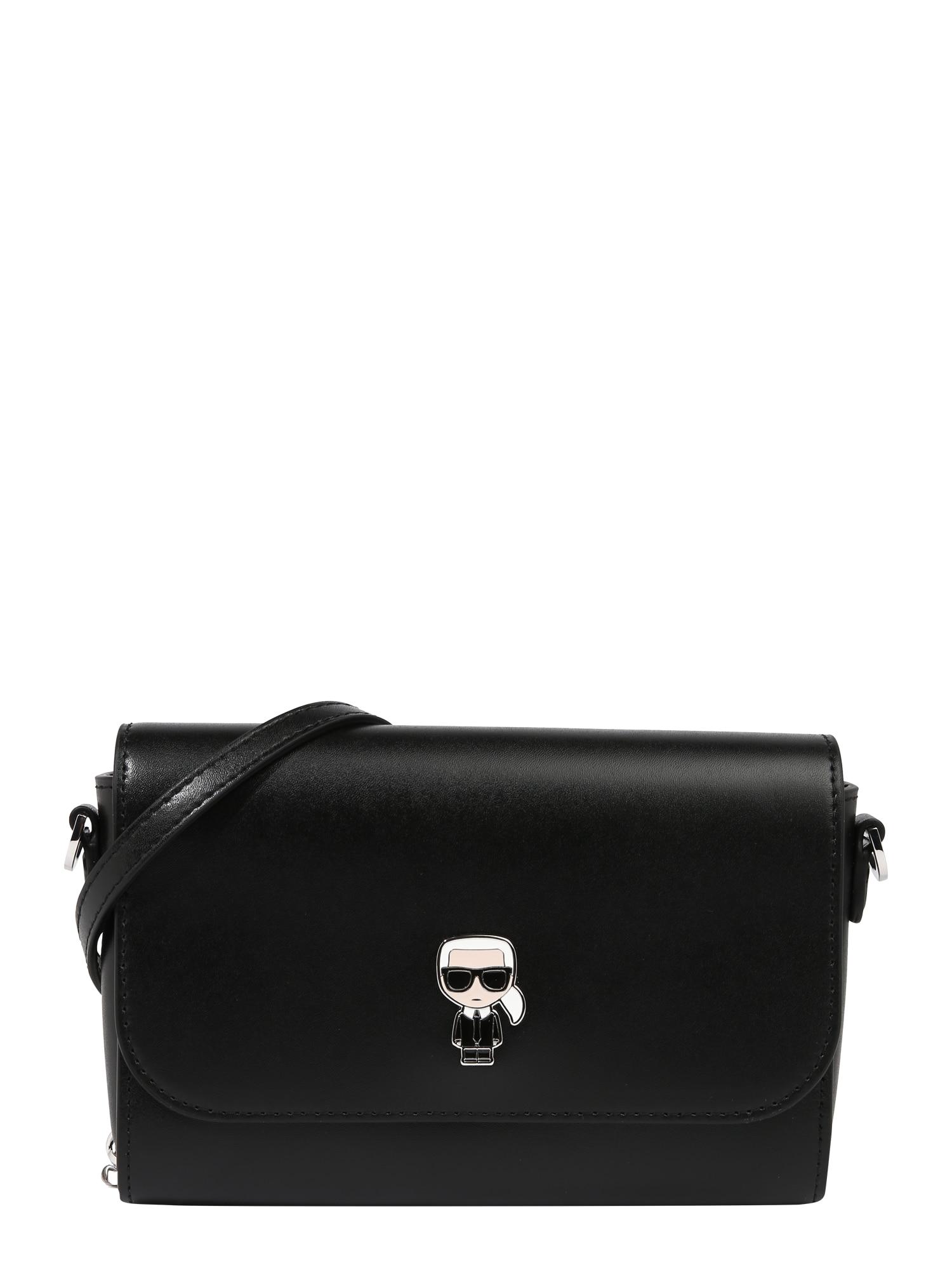 Karl Lagerfeld Rankinė su ilgu dirželiu juoda / balta / kūno spalva
