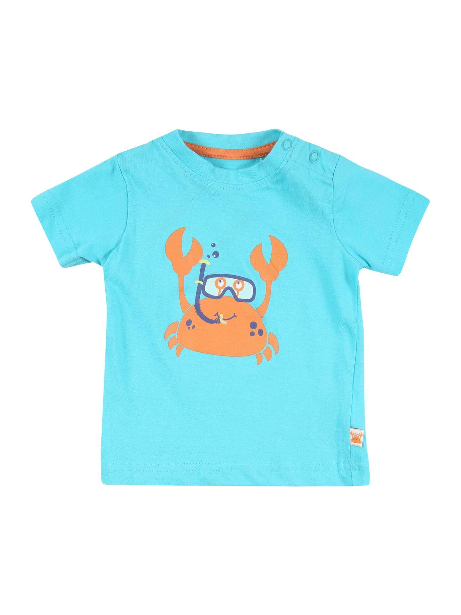 BLUE SEVEN Marškinėliai šviesiai mėlyna / oranžinė / tamsiai mėlyna