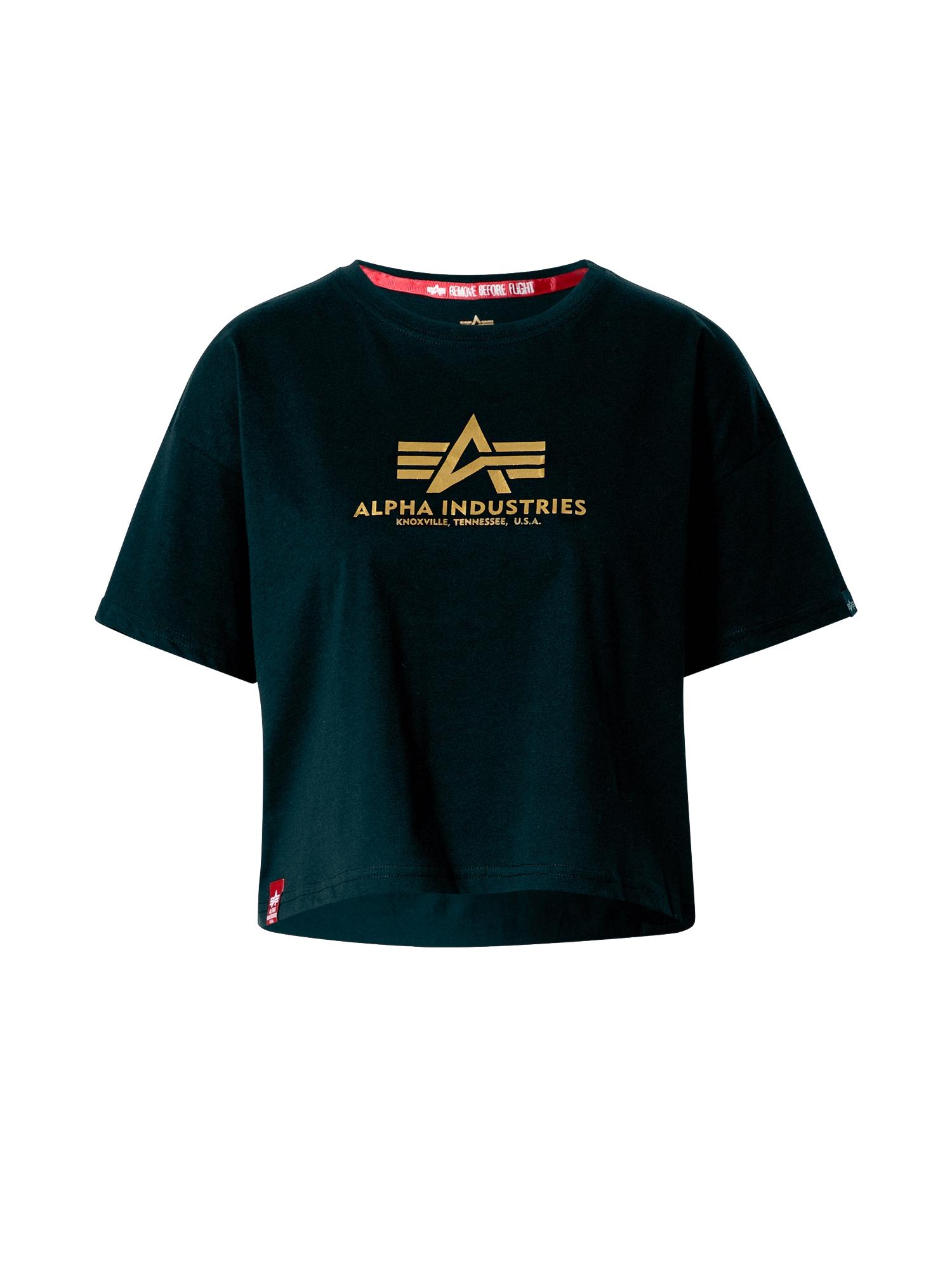 ALPHA INDUSTRIES Marškinėliai tamsiai žalia