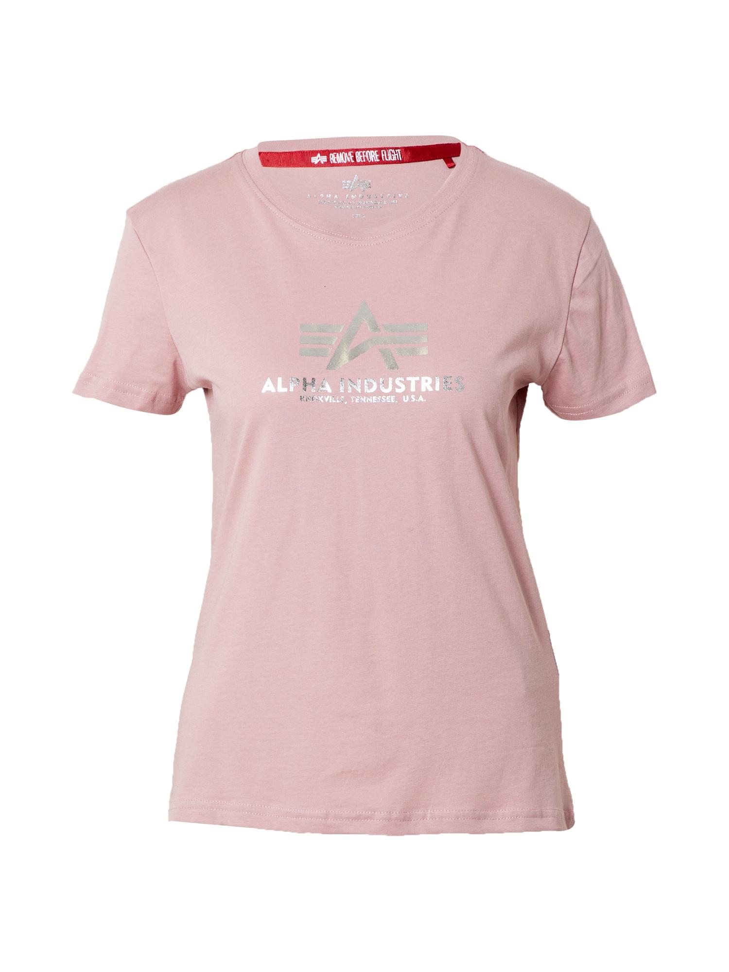 ALPHA INDUSTRIES Marškinėliai šviesiai rožinė / sidabrinė
