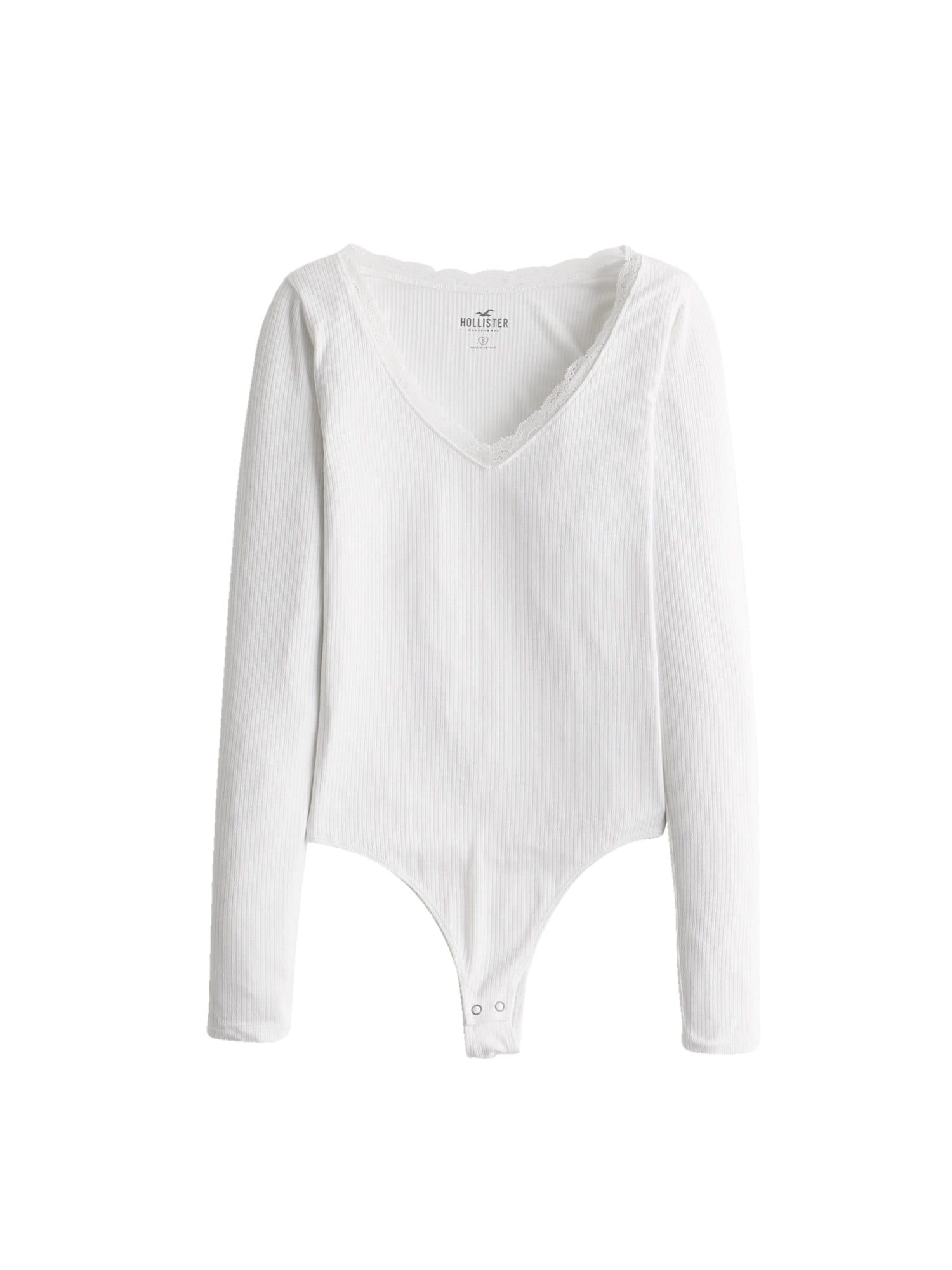 HOLLISTER Marškinėliai-glaustinukė balta