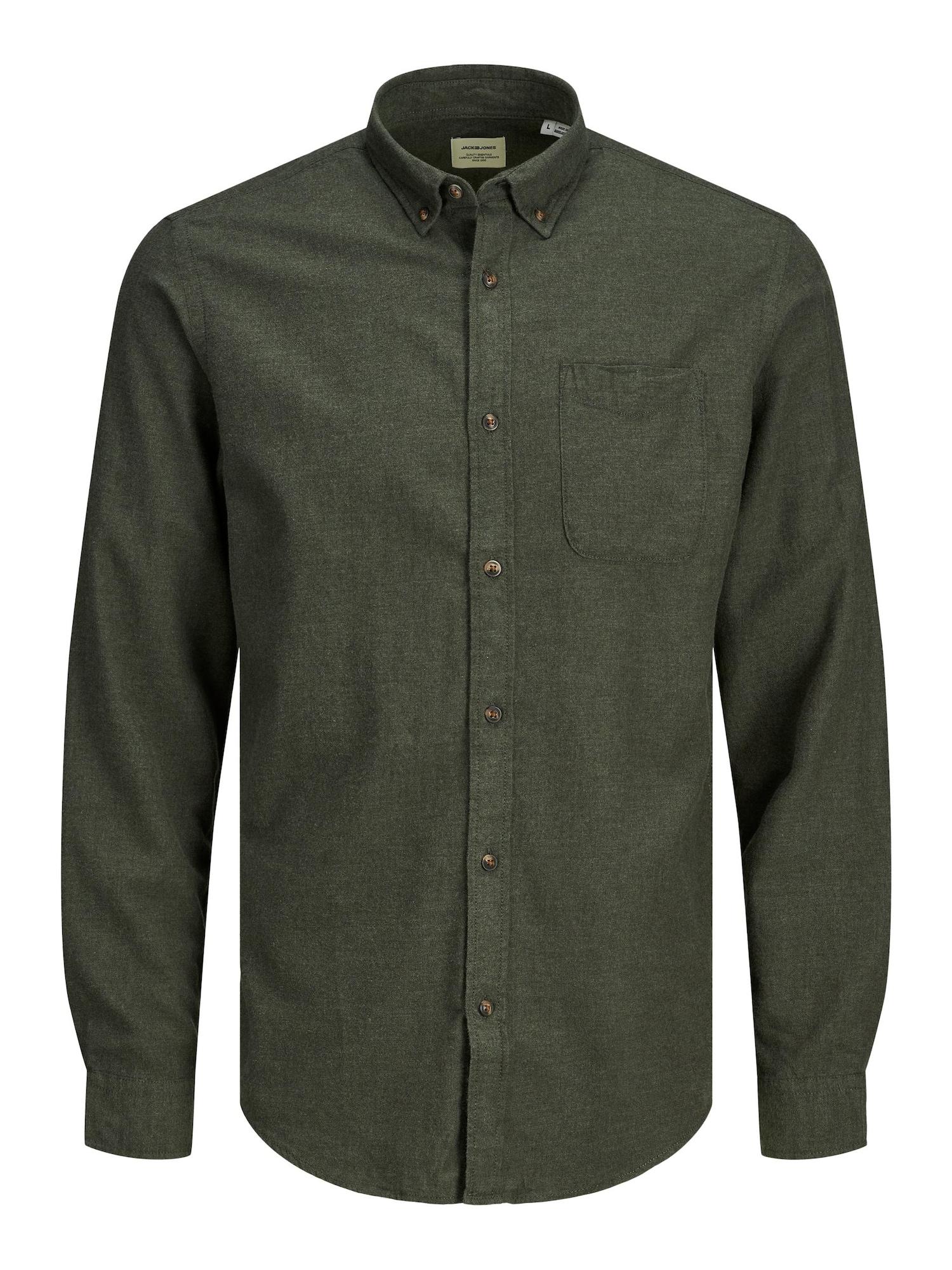 JACK & JONES Marškiniai rusvai žalia