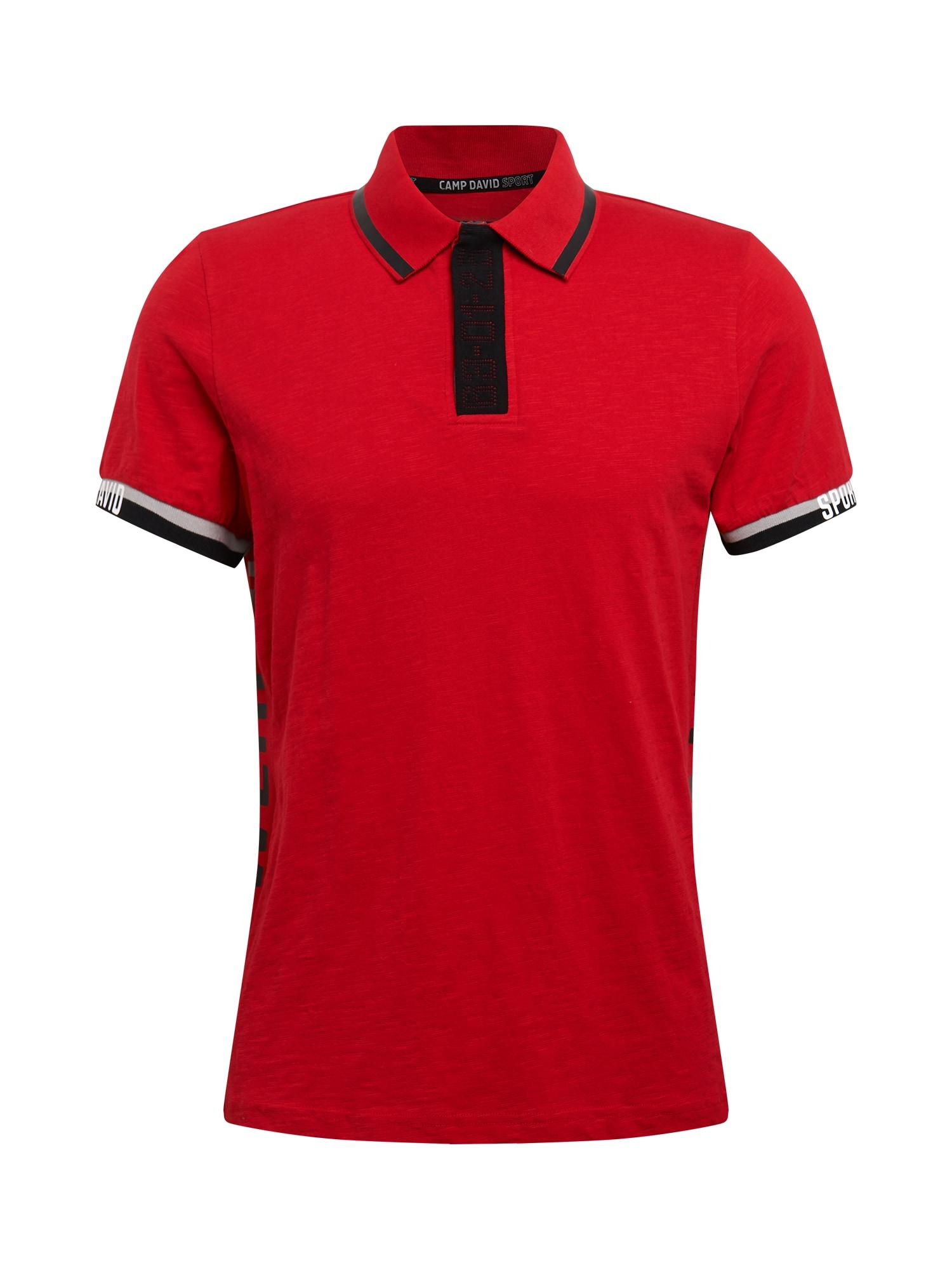 CAMP DAVID Marškinėliai raudona / juoda / šviesiai pilka