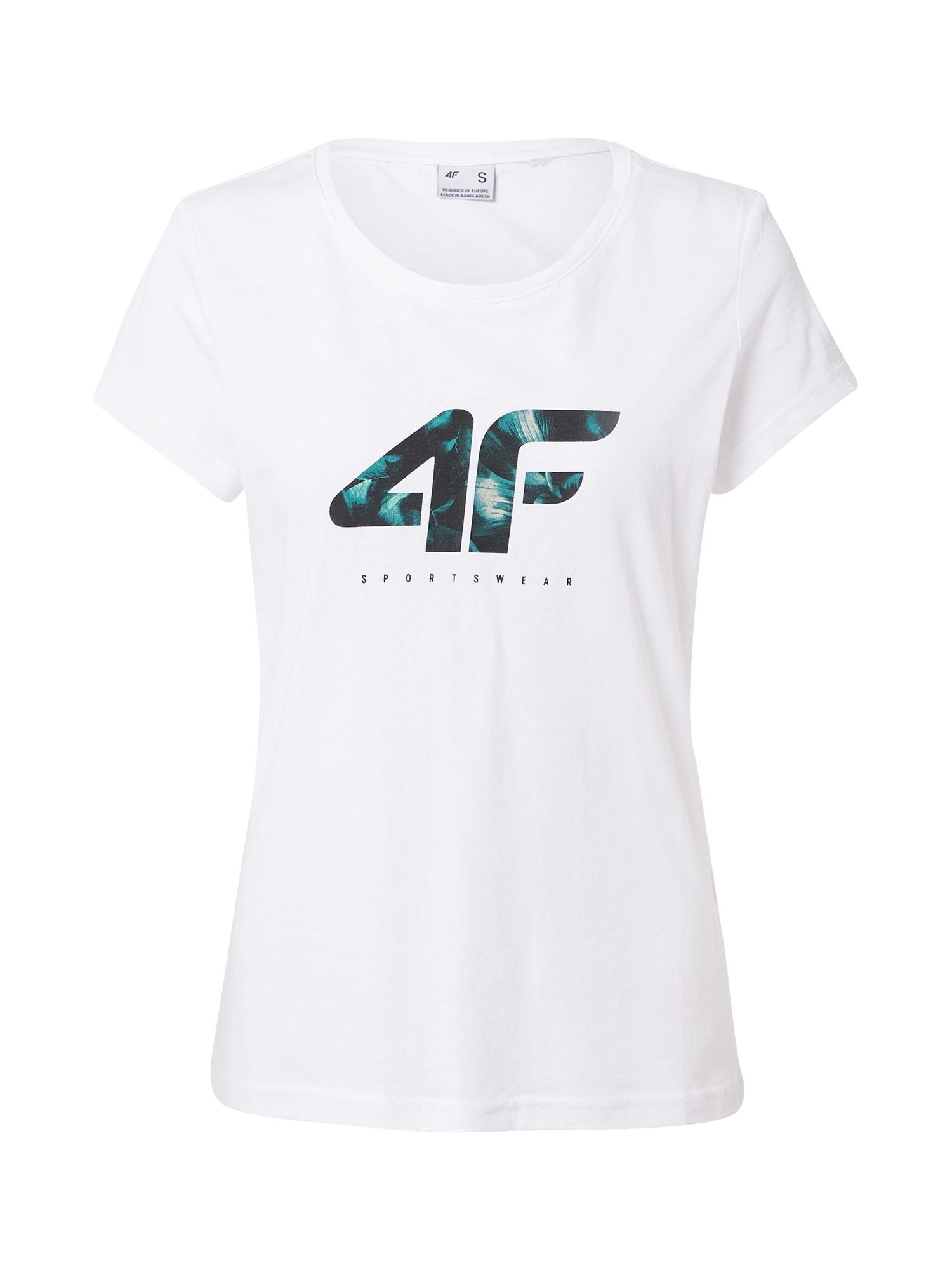 4F Sportiniai marškinėliai balta / nakties mėlyna / žalsvai mėlyna