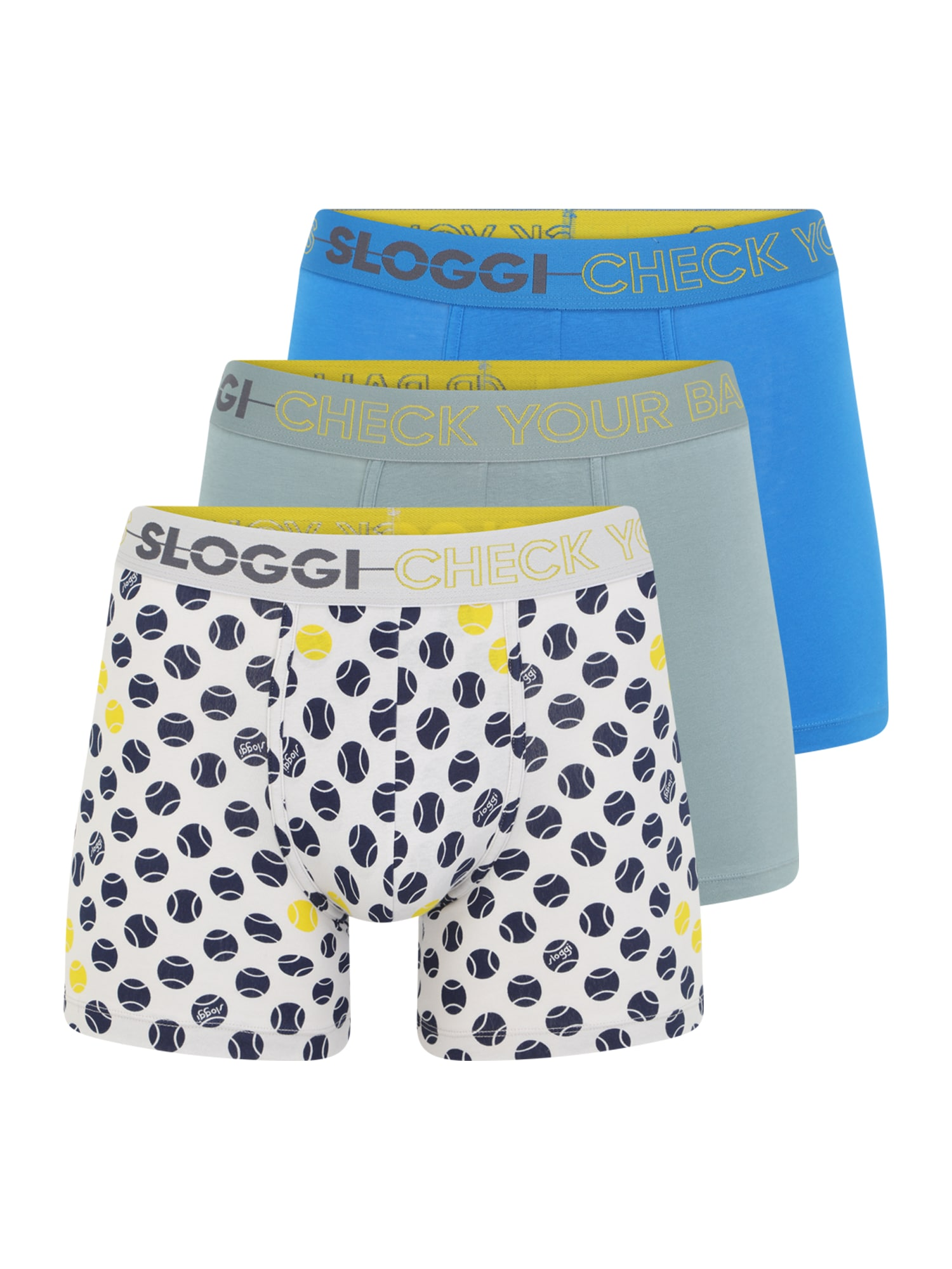 SLOGGI Boxer trumpikės mėlyna / tamsiai mėlyna / balta / žalia / geltona