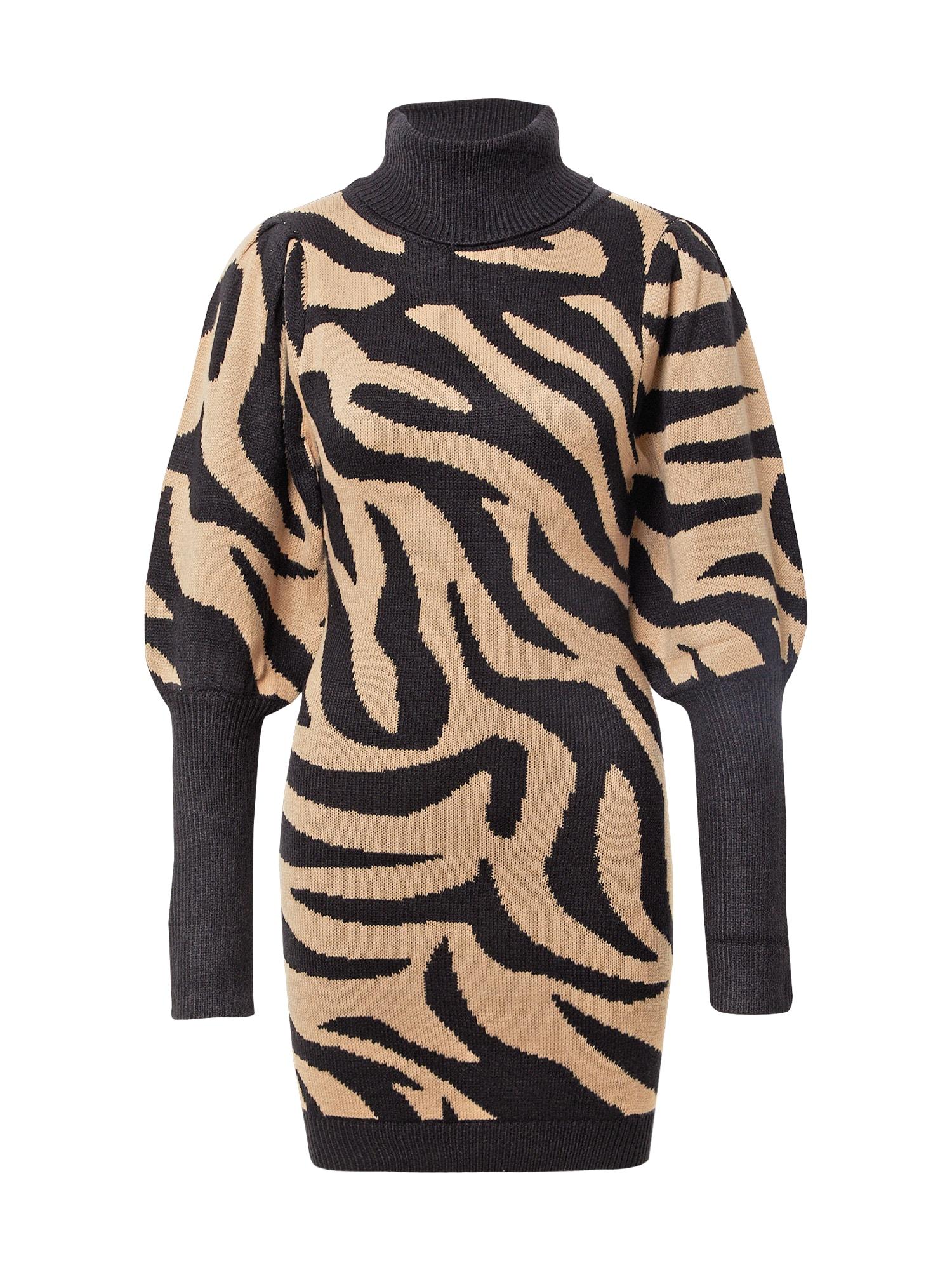AX Paris Suknelė juoda / antracito spalva / kapučino spalva