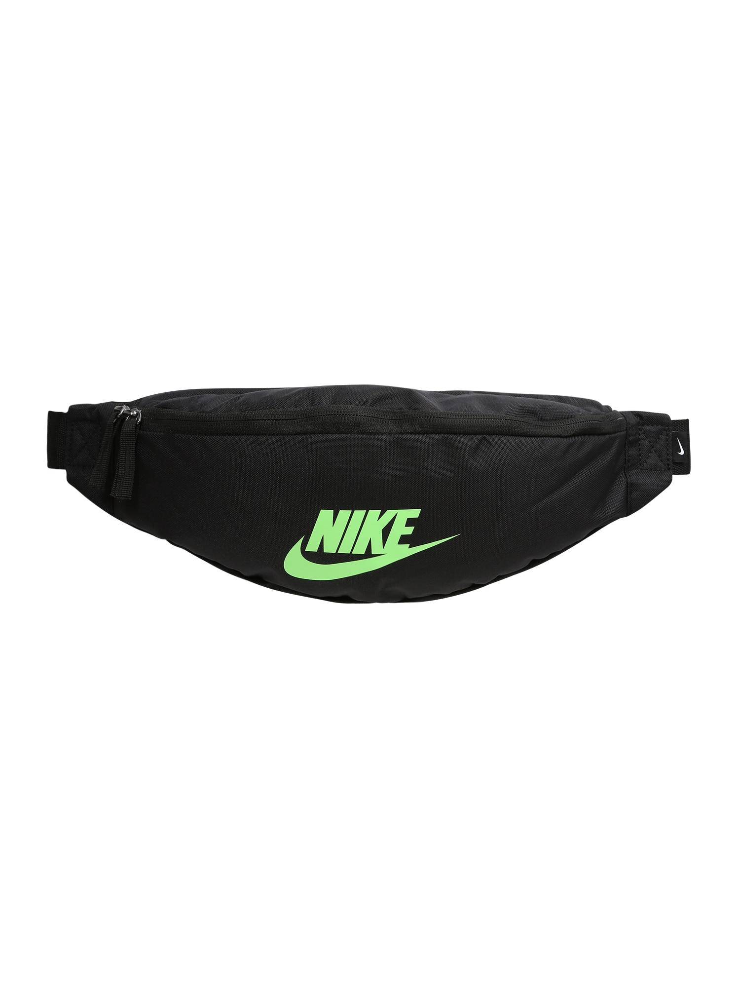 Nike Sportswear Ledvinka 'Heritage'  svítivě zelená / černá