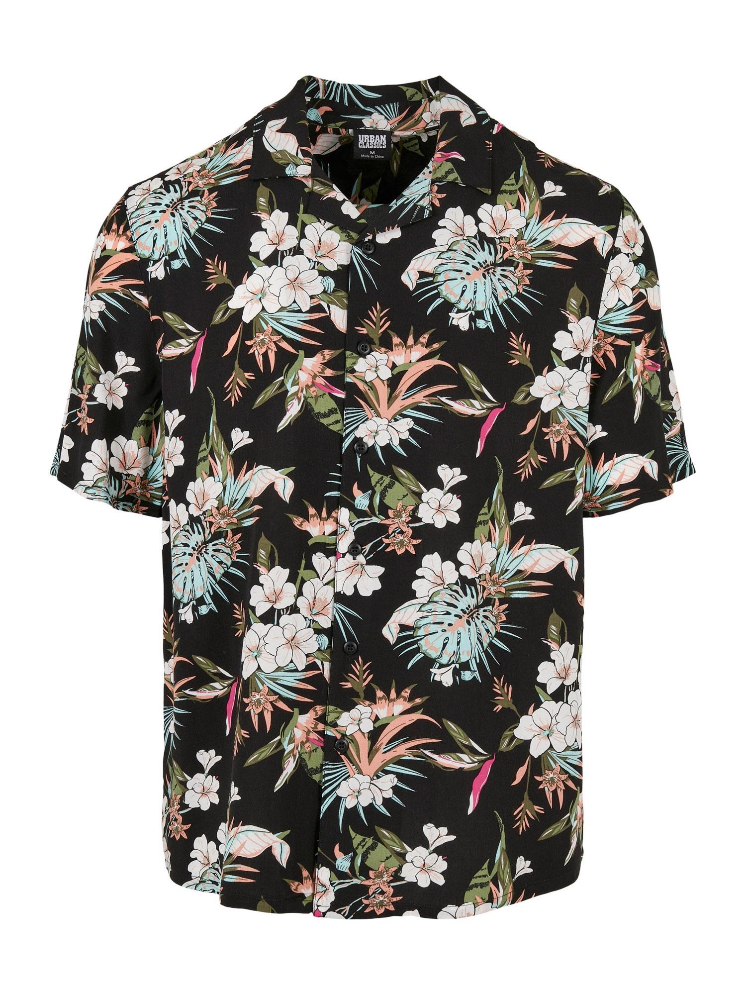 Urban Classics Big & Tall Marškiniai juoda / balta / rožinė / abrikosų spalva / žalia